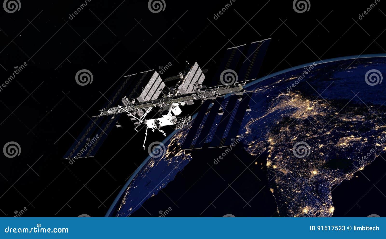 Весьма детальное и реалистическое высокое изображение ИСС - земля двигая по орбите разрешения 3D международной космической станци