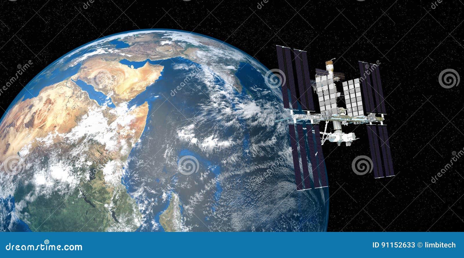 Весьма детальное и реалистическое высокое изображение разрешения 3D земли двигая по орбите международной космической станции ИСС