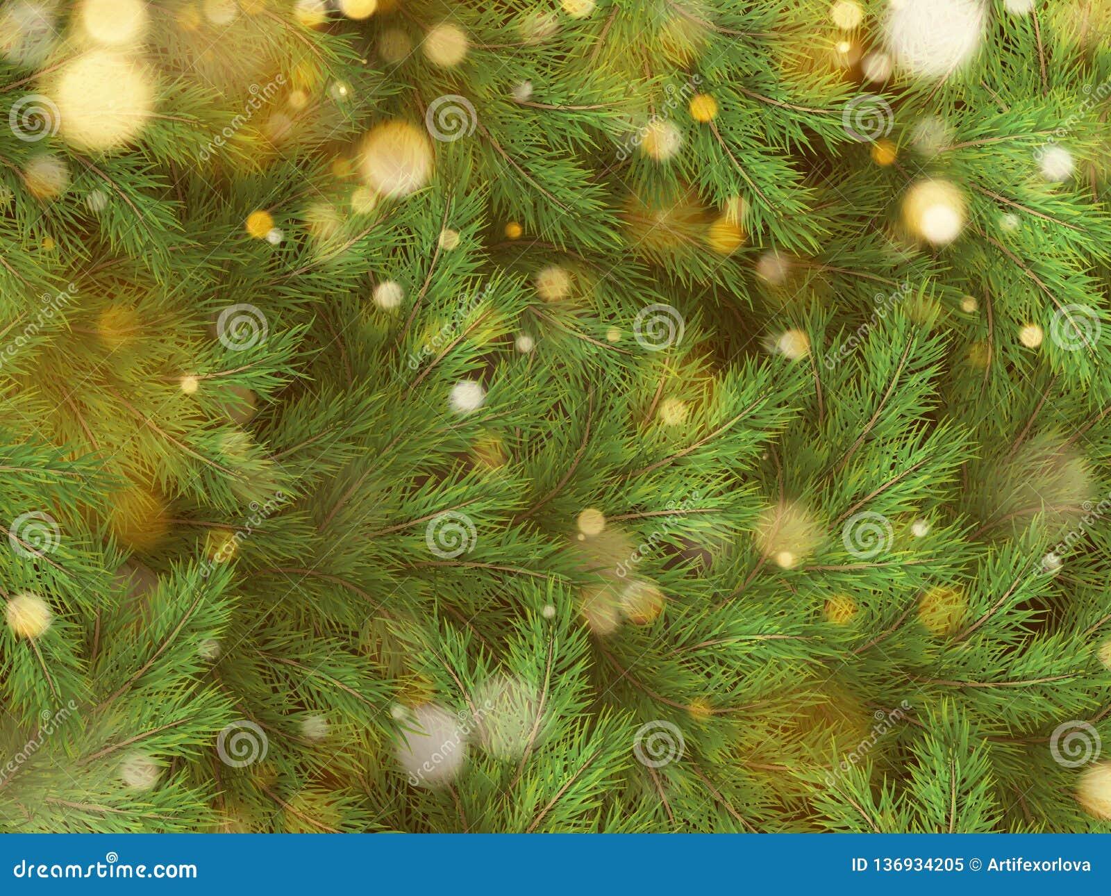 Ветви зеленого цвета рождественской елки светов гирлянды сосны и золота 10 eps