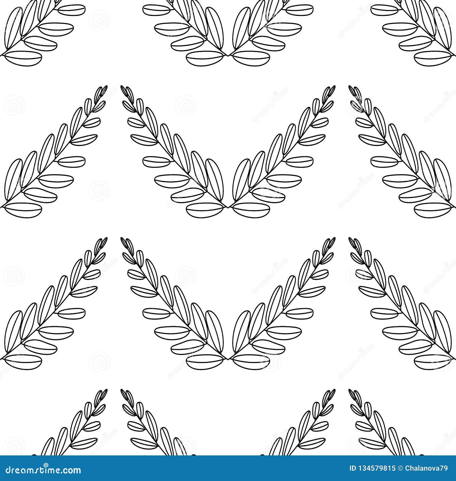 Ветви оливок, символа победы, иллюстрации вектора, линии силуэта картина безшовная