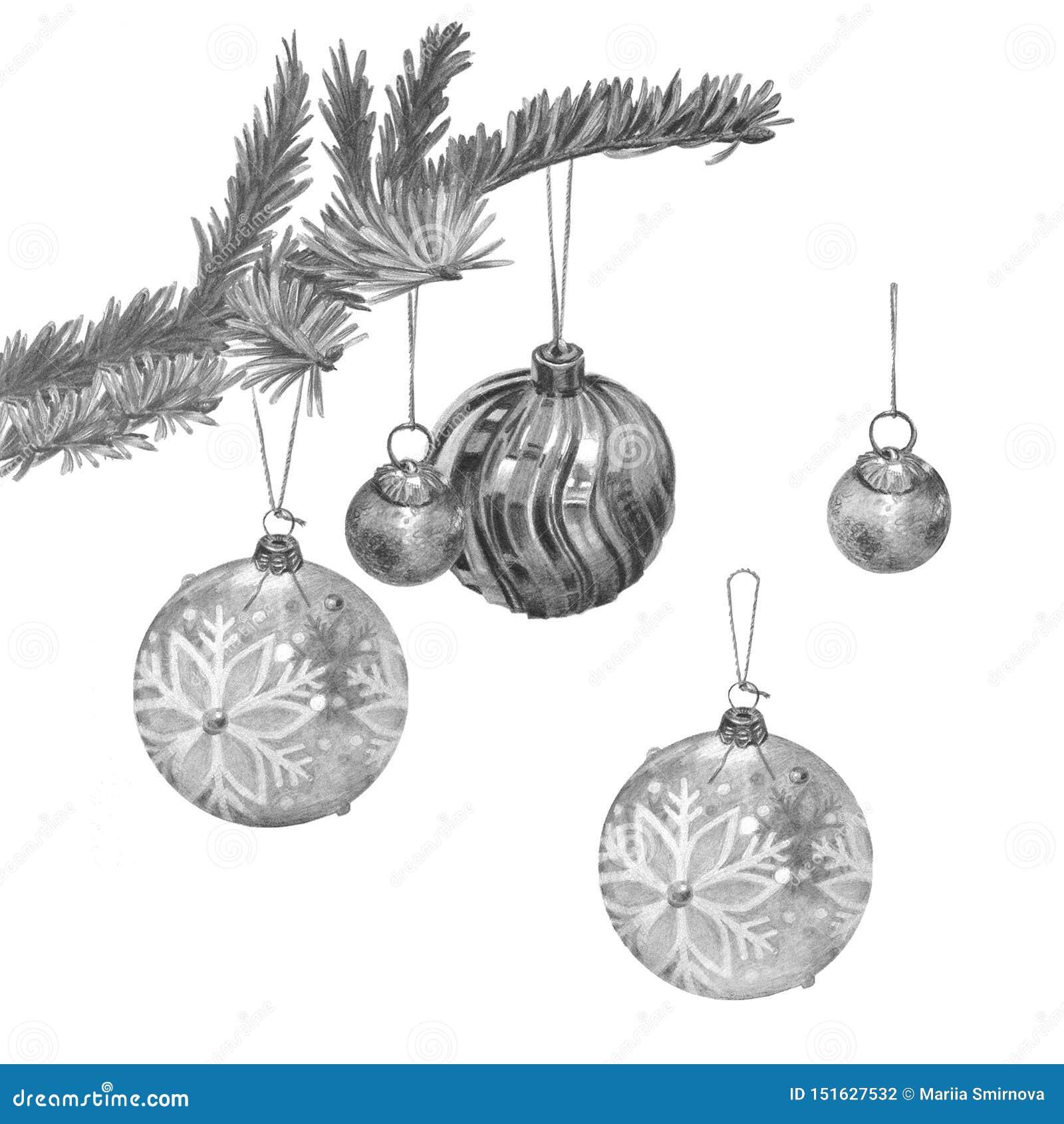 Ветвь рождественской елки с 3 различными красивыми шариками