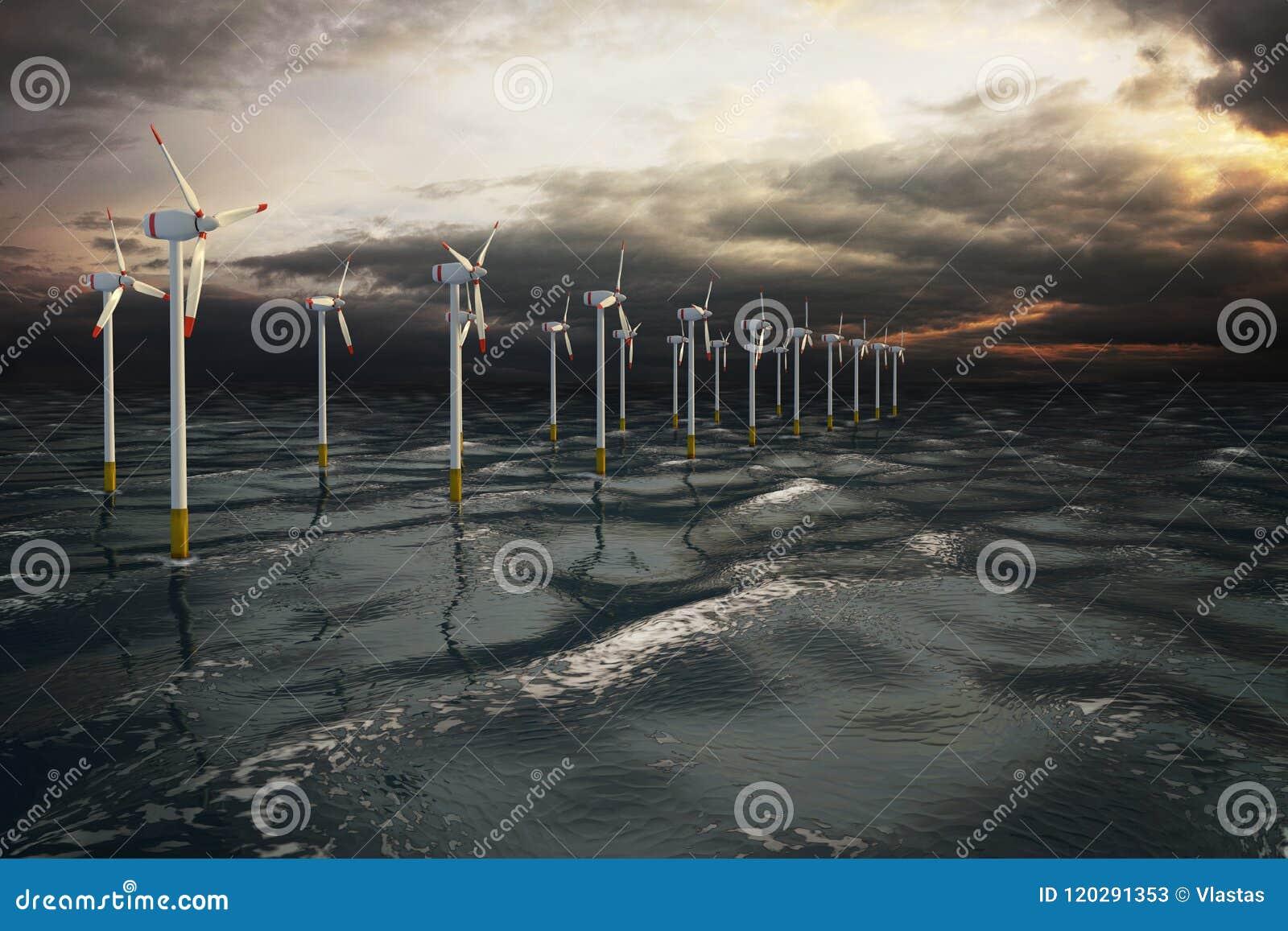 Ветротурбины фермы ветрянки производя электричество на океане