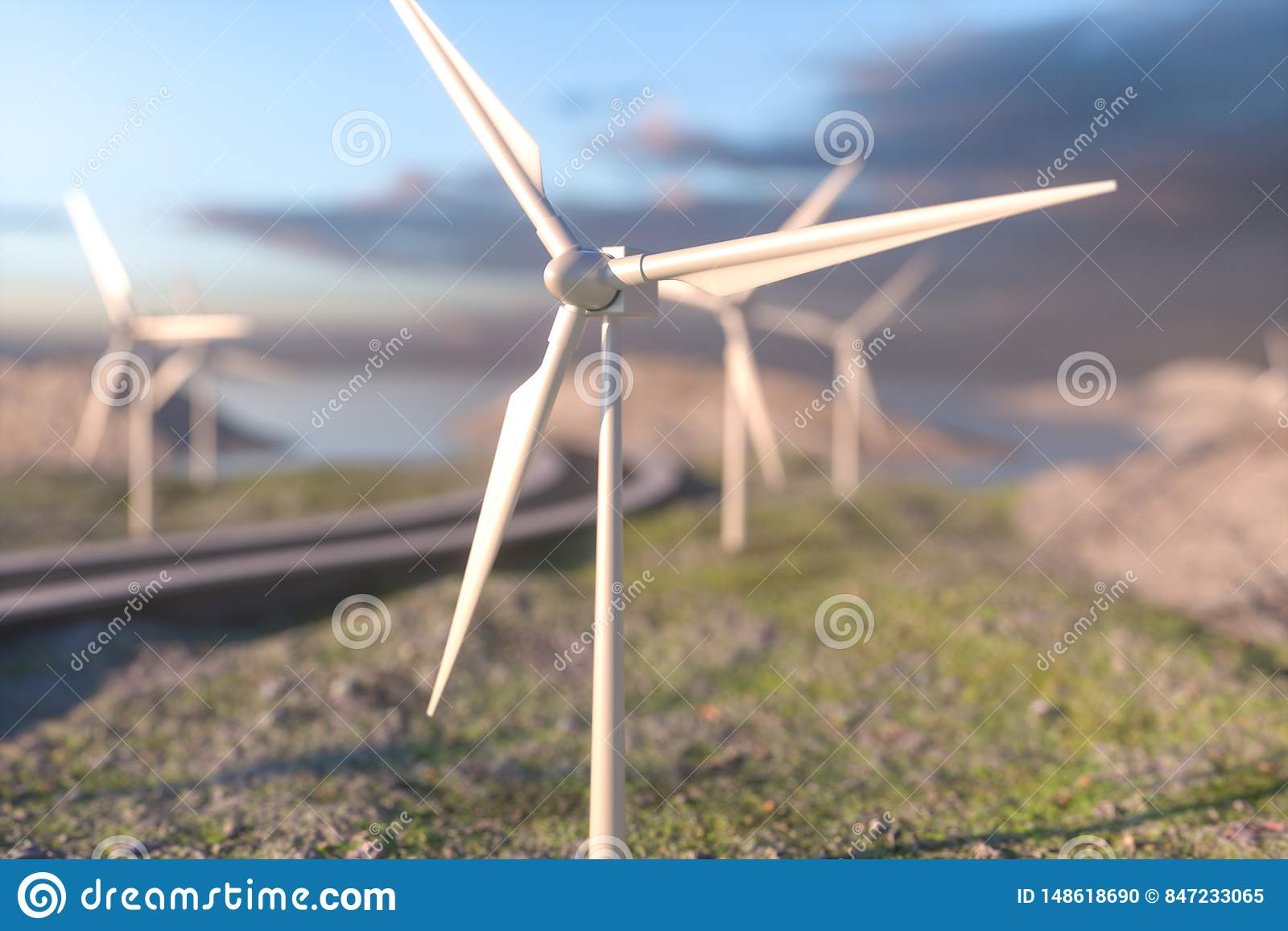 Ветрянки и извилистая дорога в открытом, перевод 3d