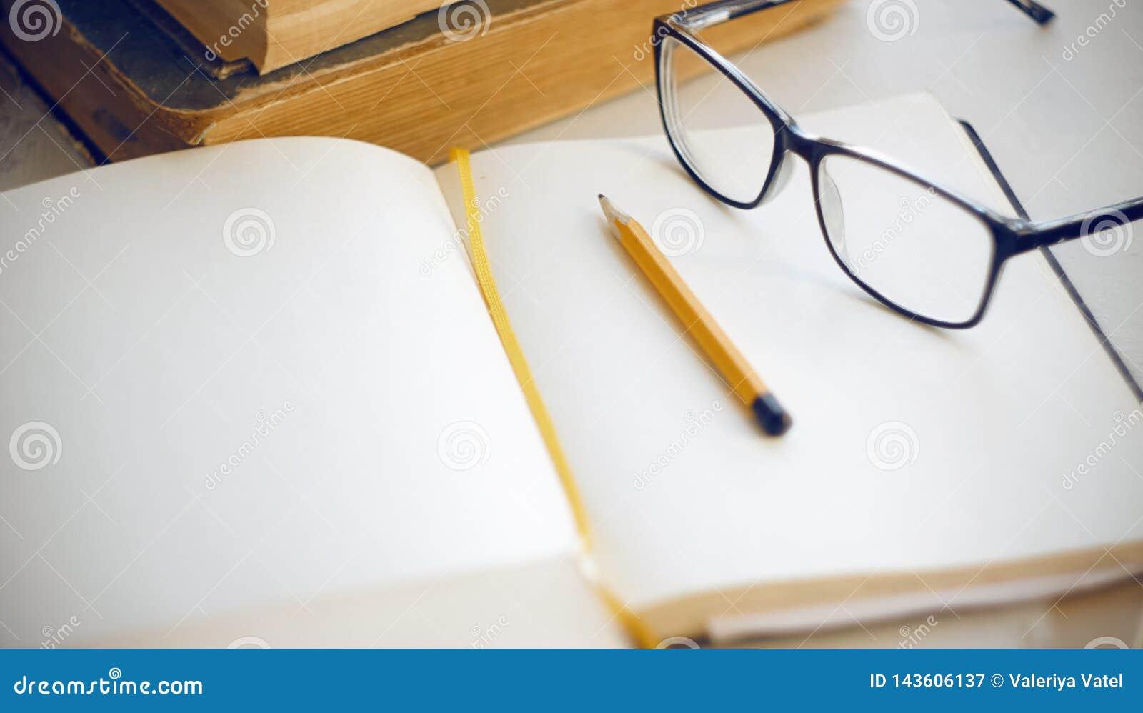 Вещи на настольных энциклопедиях, тетради, карандаше и стеклах
