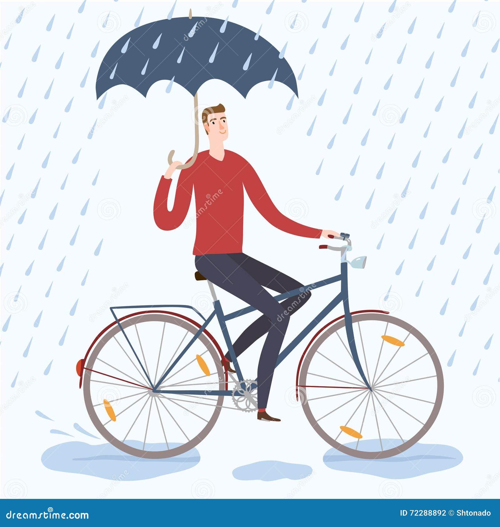 Download Велосипедист человека города под иллюстрацией дождя Иллюстрация штока - иллюстрации насчитывающей шикарно, рука: 72288892