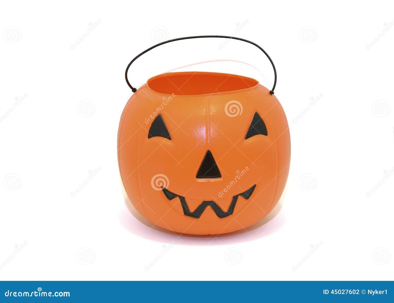 Ведро конфеты тыквы хеллоуина для фокус-или-обрабатывать
