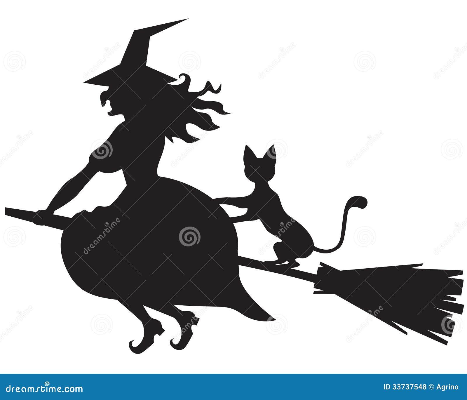 Ведьма на венике и коте