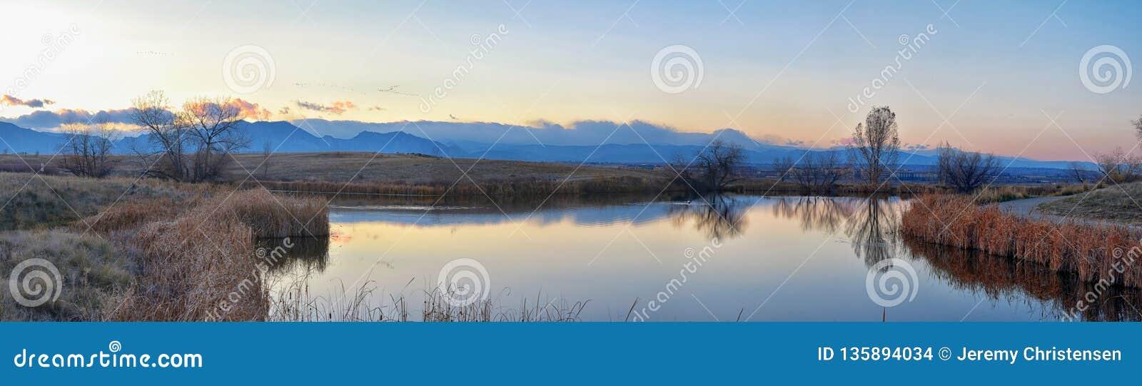 Взгляды пути пруда Josh's идя, отражая захода солнца в Broomfield Колорадо окруженном Cattails, равнин и Ла скалистой горы