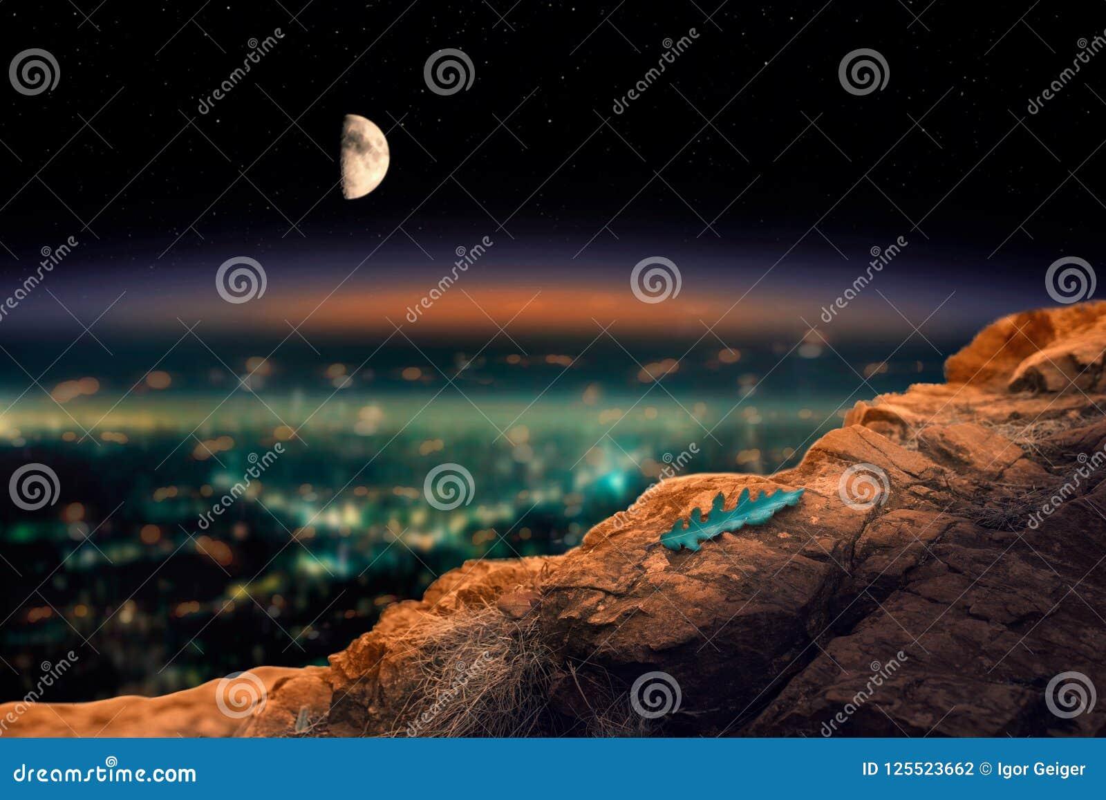 Взгляд города ночи от высокой скалы на которой лежит уединённый le
