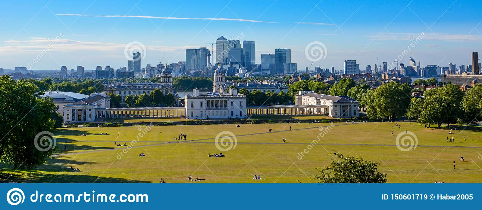 Взгляд городского пейзажа панорамы от Гринвич, Лондона, Англии, Великобритании