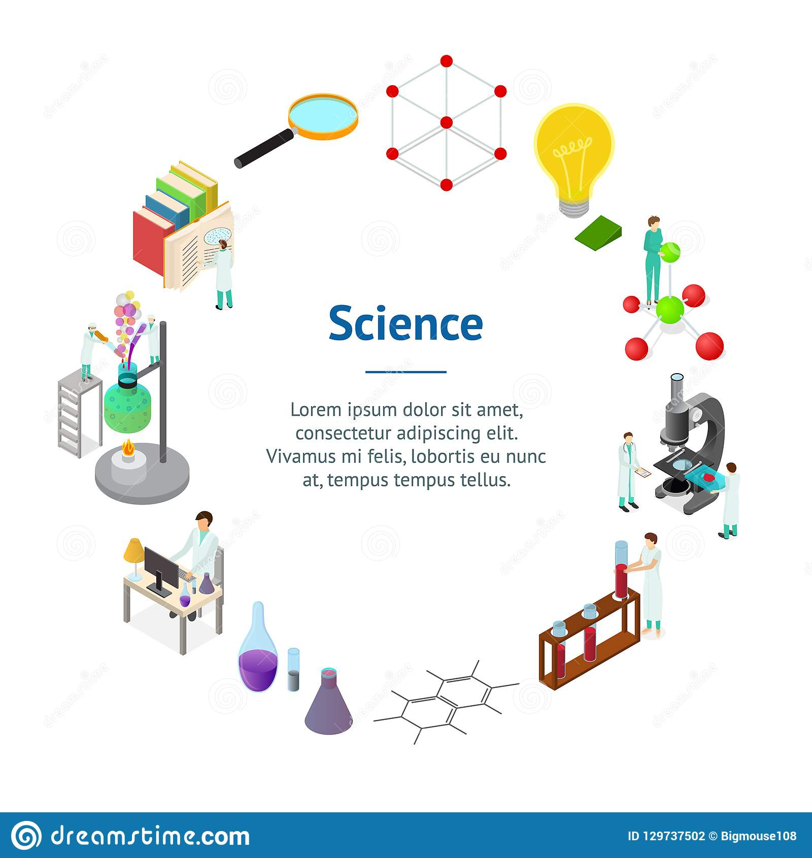 Взгляд круга 3d карты знамени концепции науки химический фармацевтический равновеликий вектор