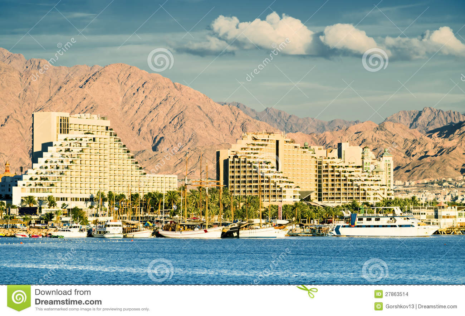 Взгляд на гостиницах курорта Eilat