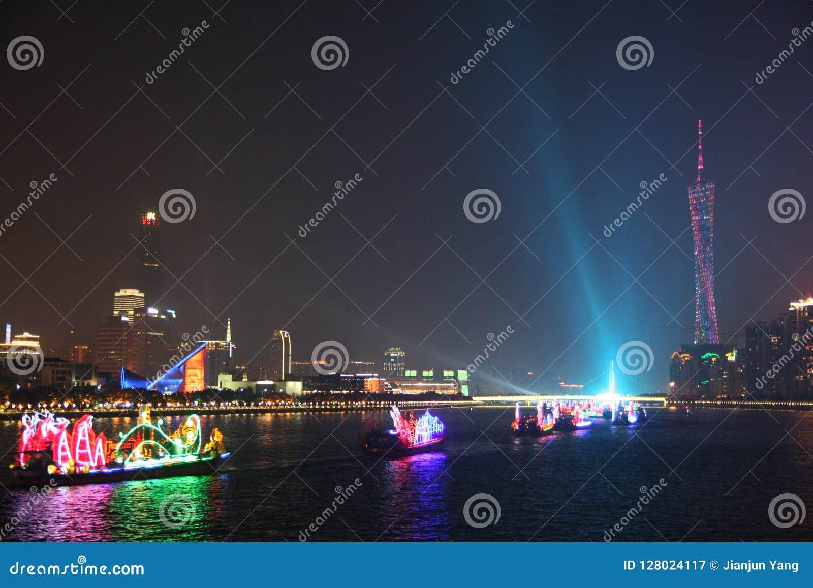 Взгляд ночи Гуанчжоу Китая