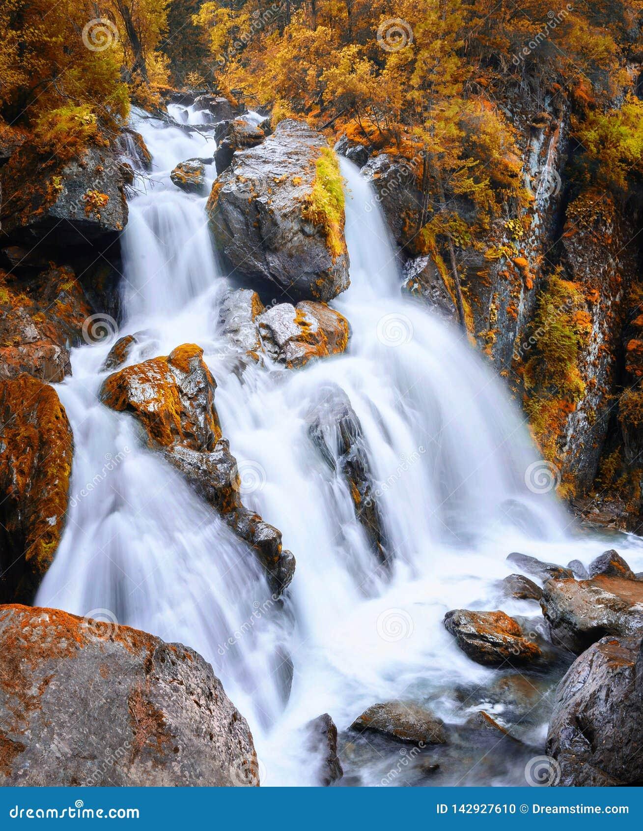 Взгляд осени водопада в горах Altai