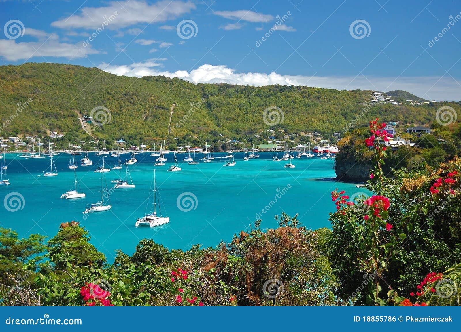 взгляд острова bequia залива admiralty