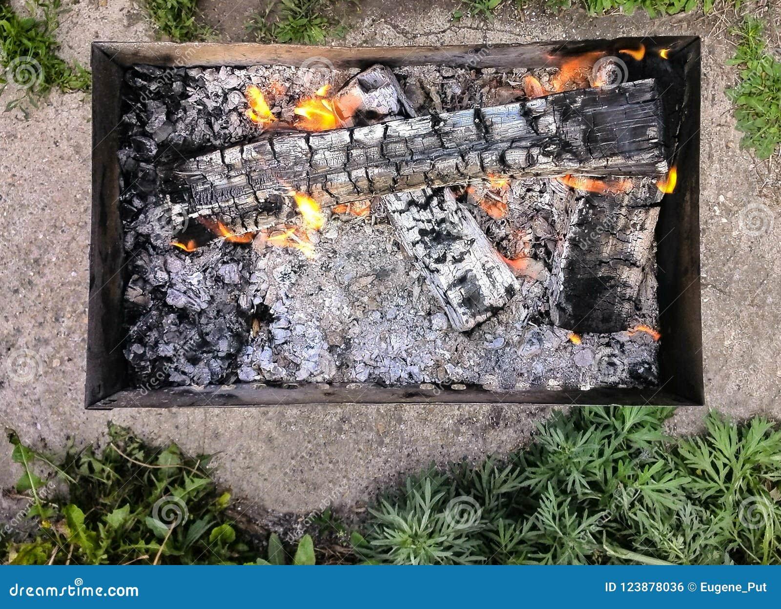 Взгляд сверху барбекю с пламенами огня, зеленой травы угля a располагаясь лагерем портативного вокруг