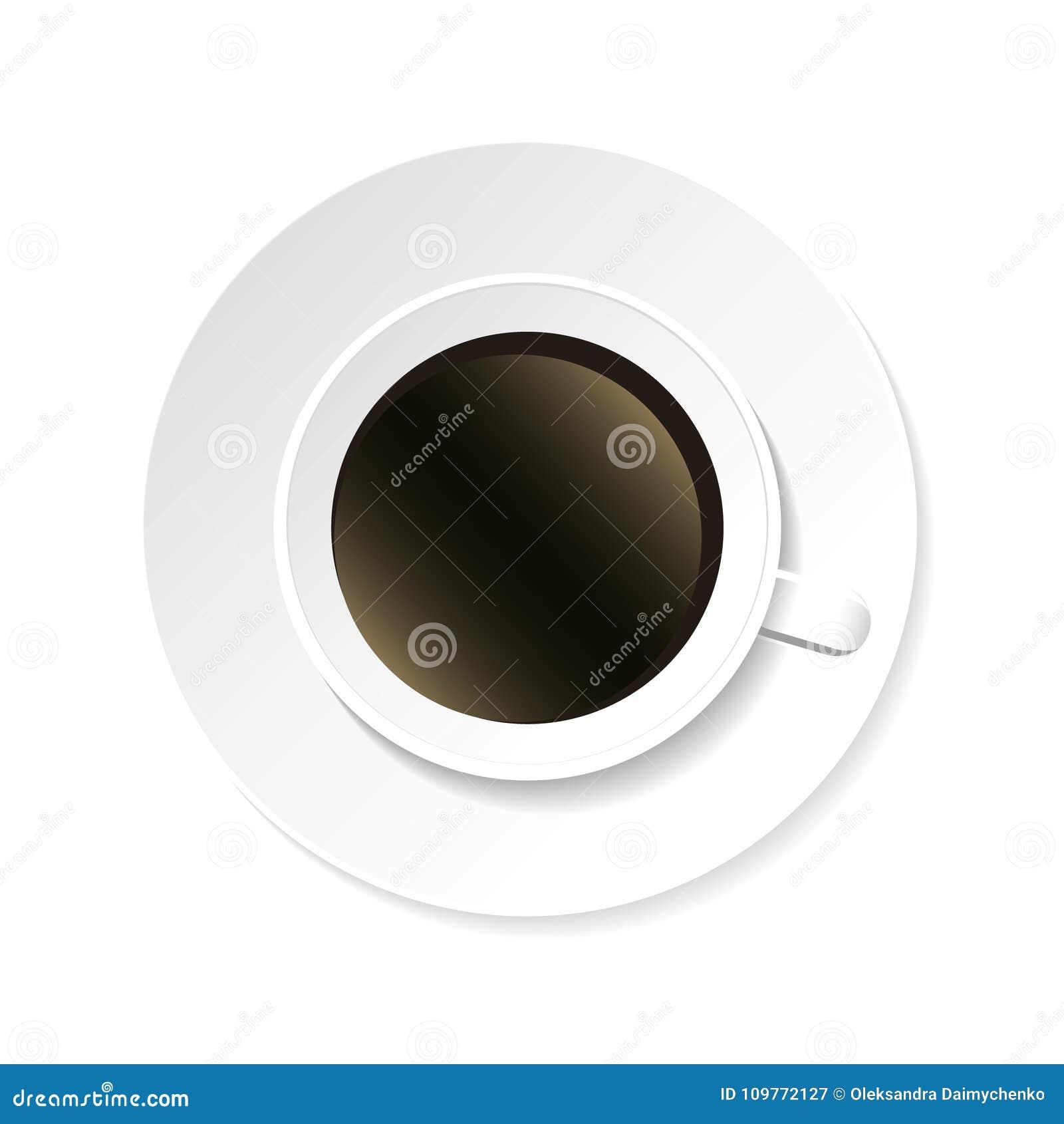Взгляд сверху кофейной чашки и поддонника изолированное на белой предпосылке реалистическо