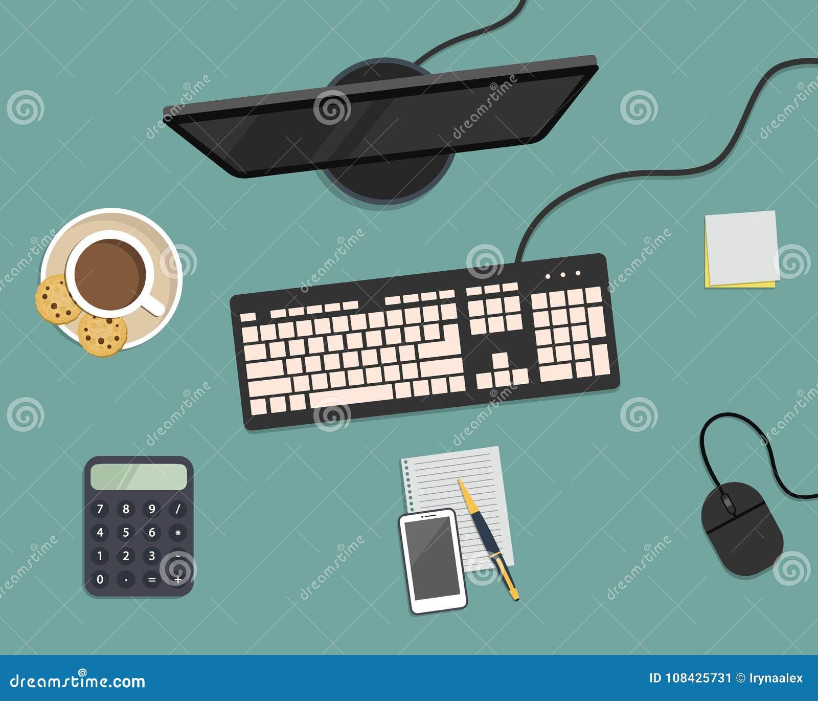 Взгляд сверху предпосылки стола Монитор, клавиатура, мышь, smartphone, калькулятор и другие канцелярские принадлежности на голубо
