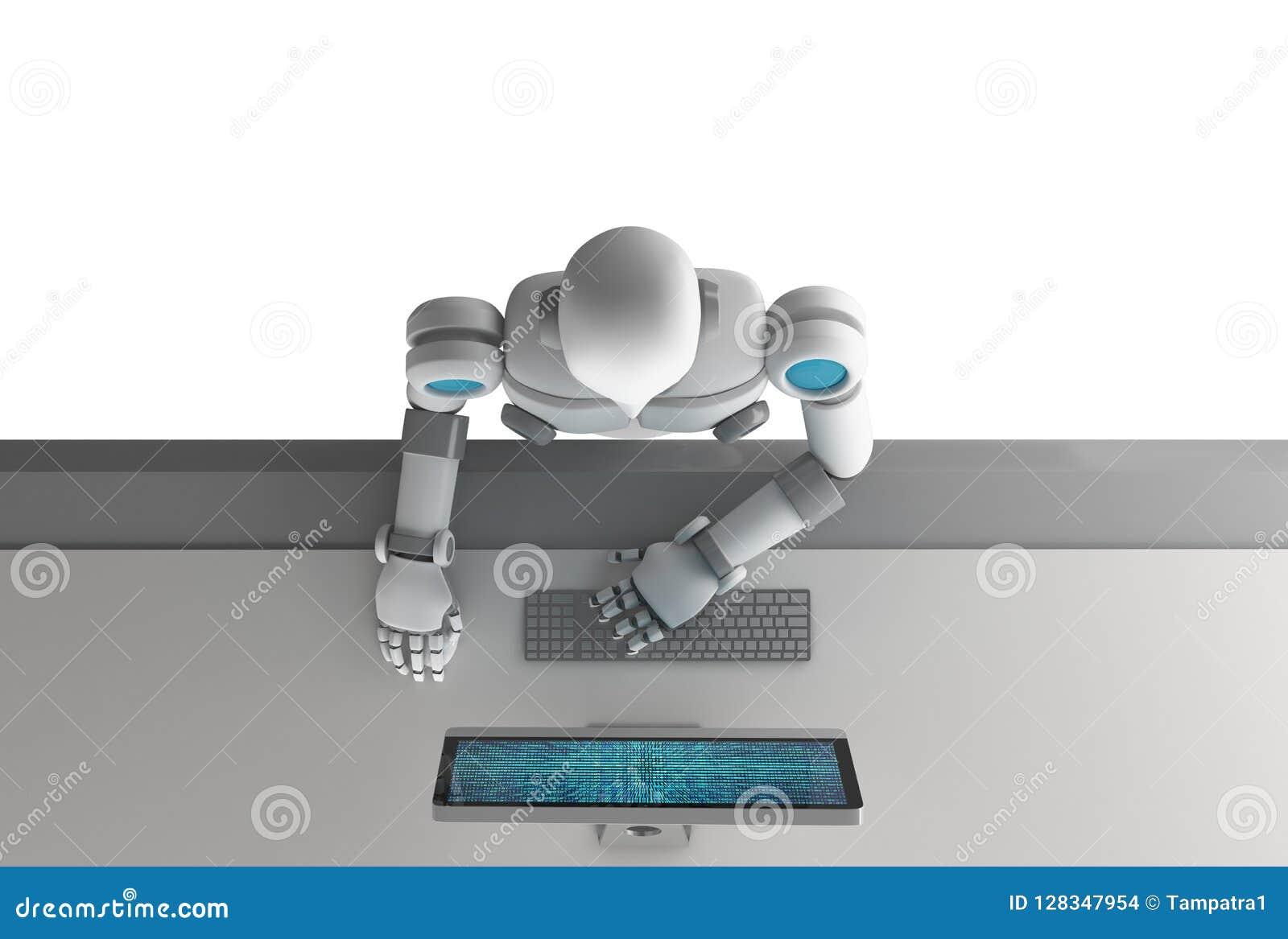 Взгляд сверху робота используя компьютер с двоичными данными нумерует код