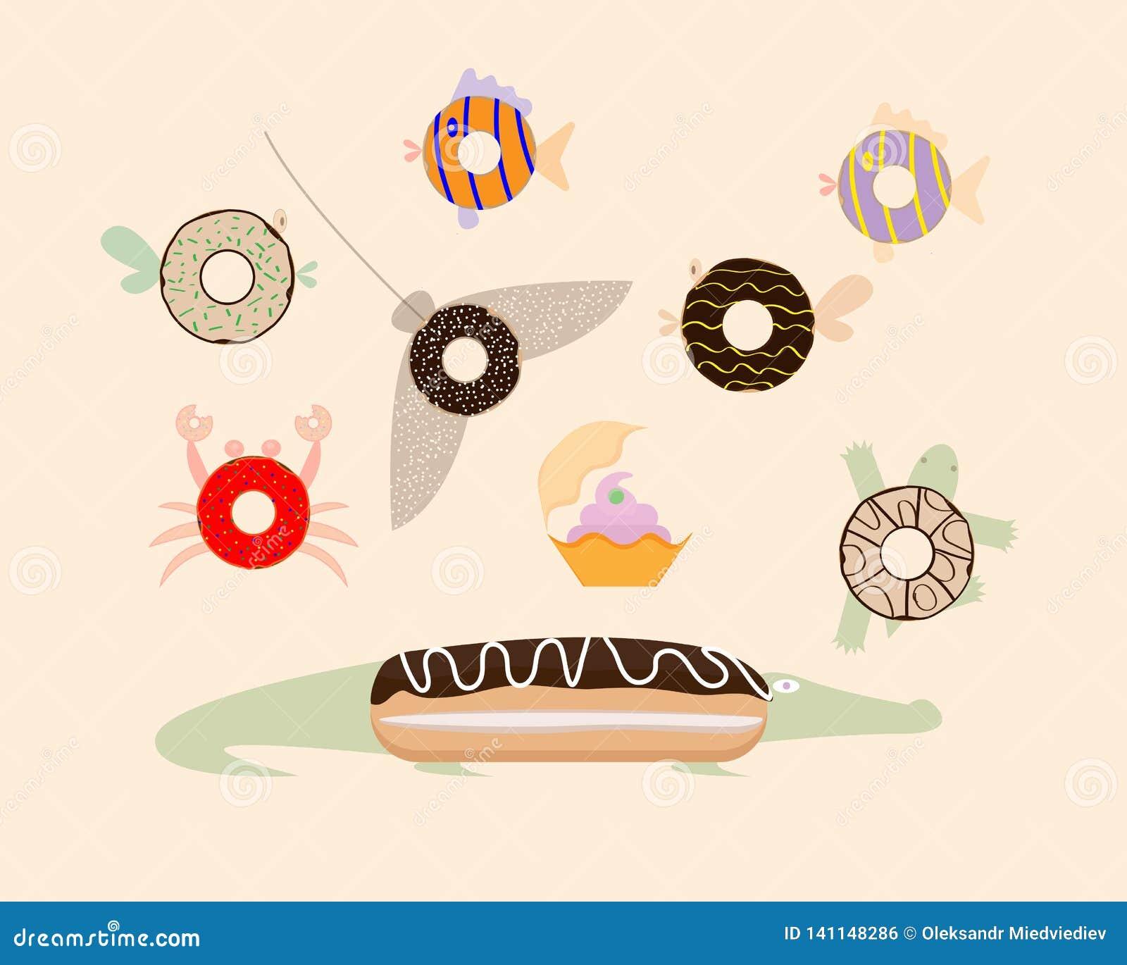 Взгляд сверху Donuts Жителя моря также вектор иллюстрации притяжки corel