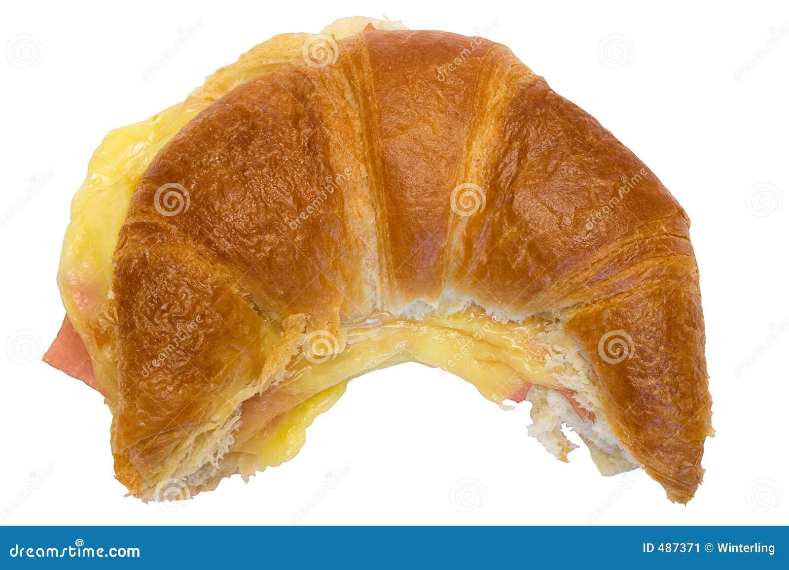 Download взгляд сверху W путя ветчины круасанта сыра Стоковое Изображение - изображение насчитывающей жиреть, сыр: 487371