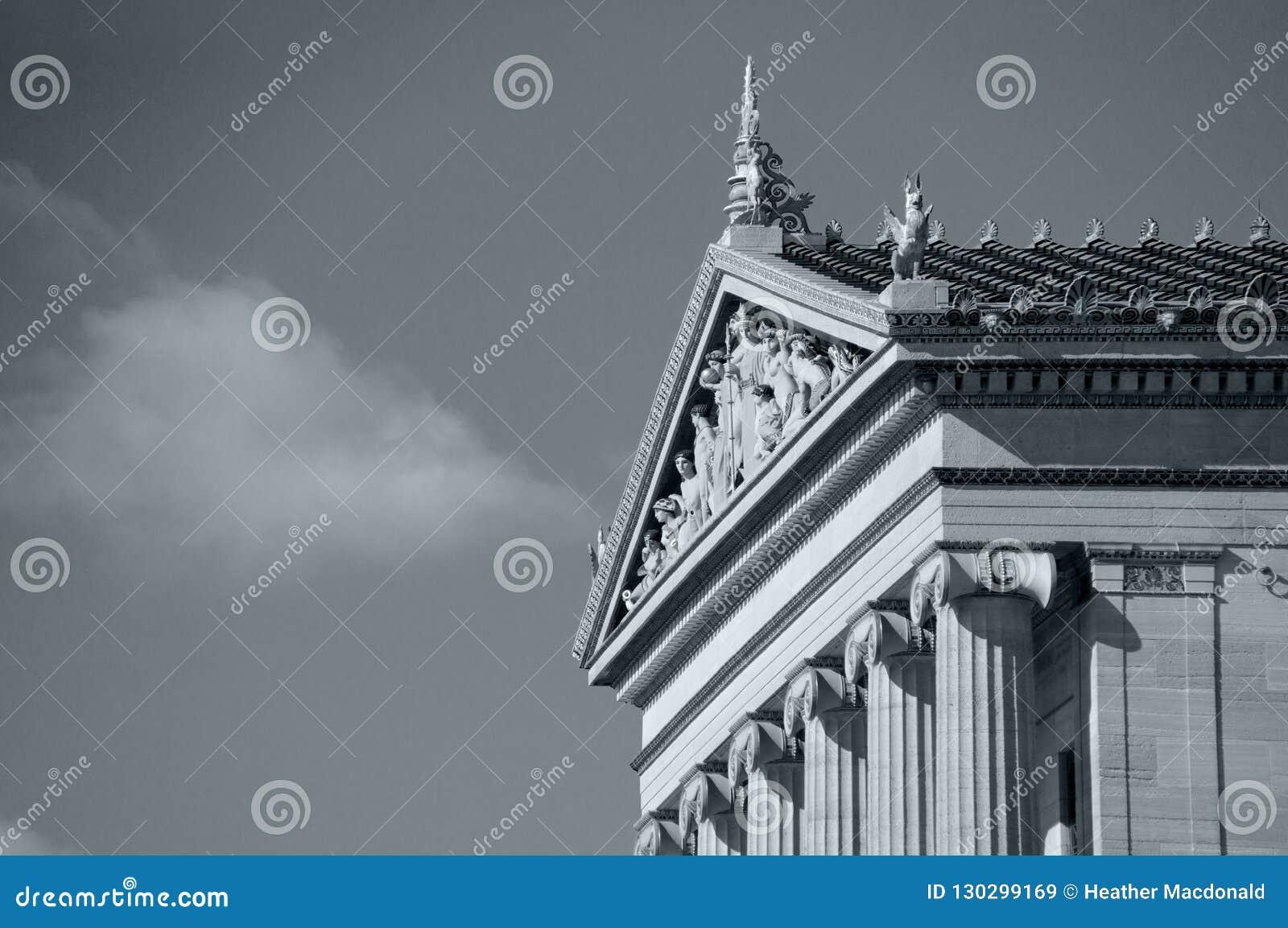 Взгляд со стороны музея изобразительных искусств Филадельфии в черно-белом