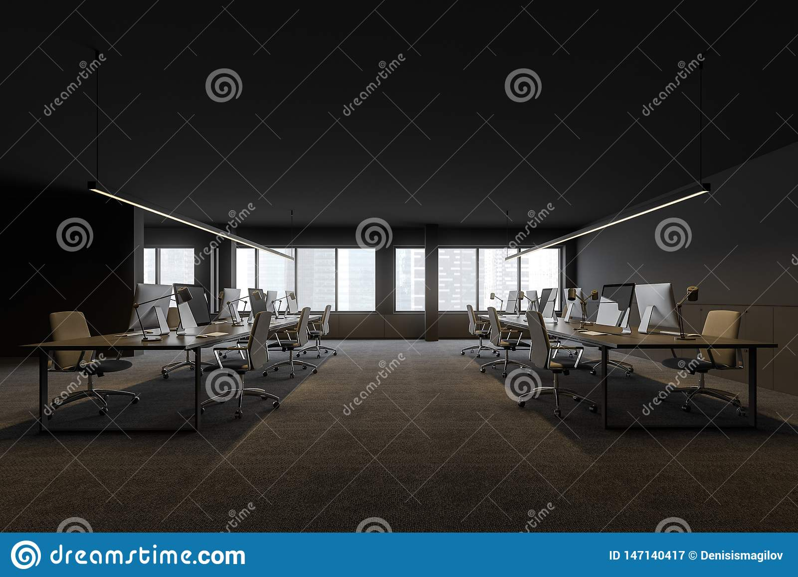 Взгляд со стороны офиса открытого пространства в современной компании