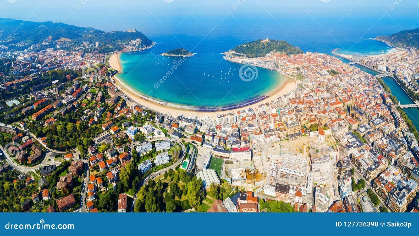 Взгляд San Sebastian воздушный панорамный