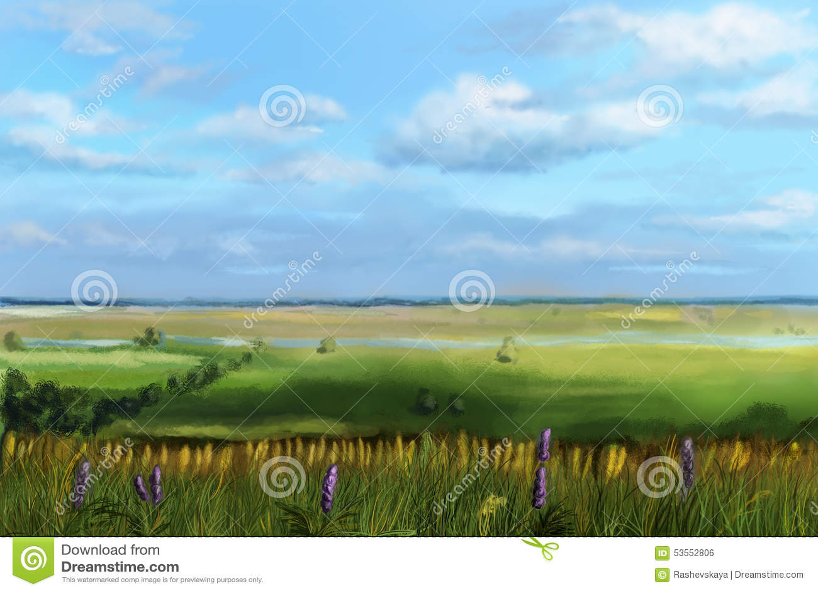 Взгляд долины от холма
