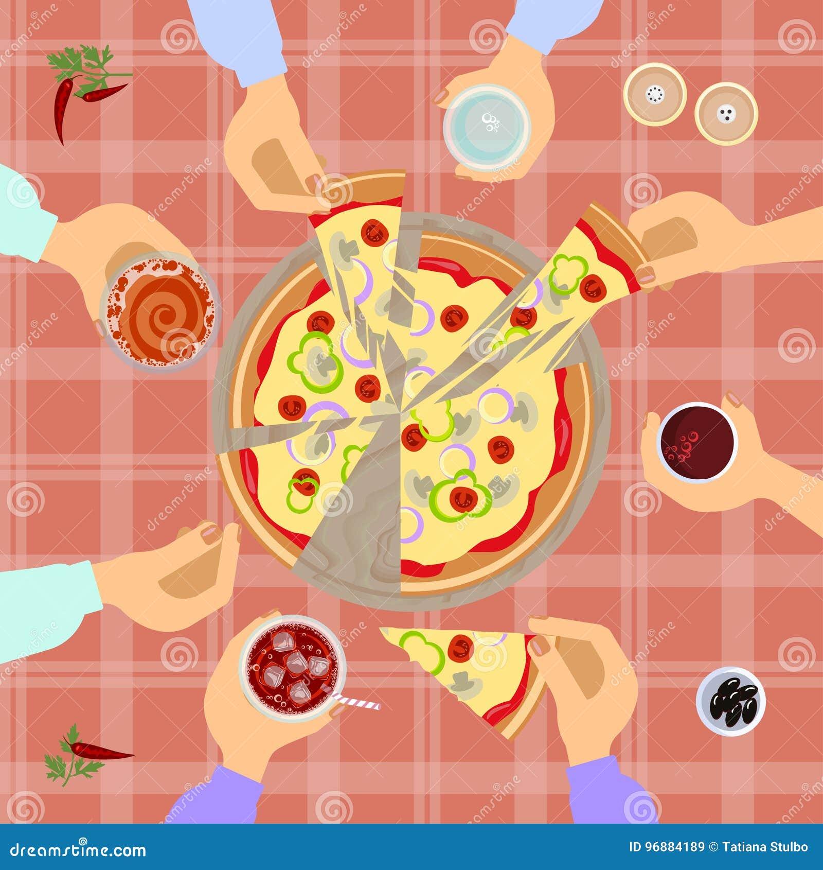Взгляд сверху пиццы
