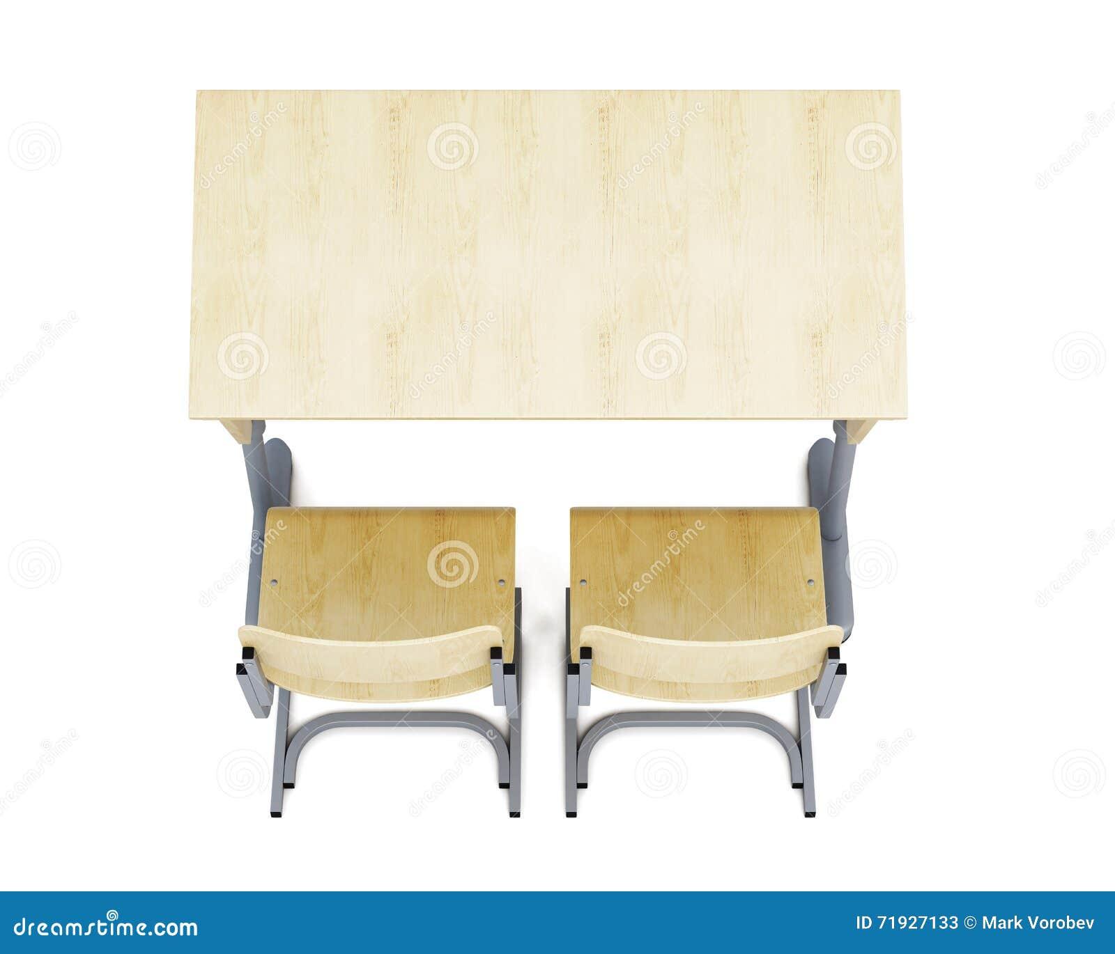 Взгляд сверху стола и стульев школы на белом backgroun