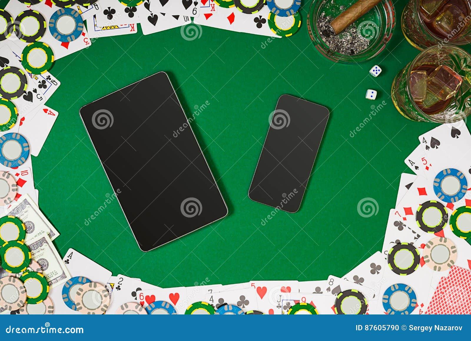 Взгляд сверху с космосом экземпляра Модель-макет плана шаблона знамени для онлайн казино Зеленая таблица, взгляд сверху на рабоче