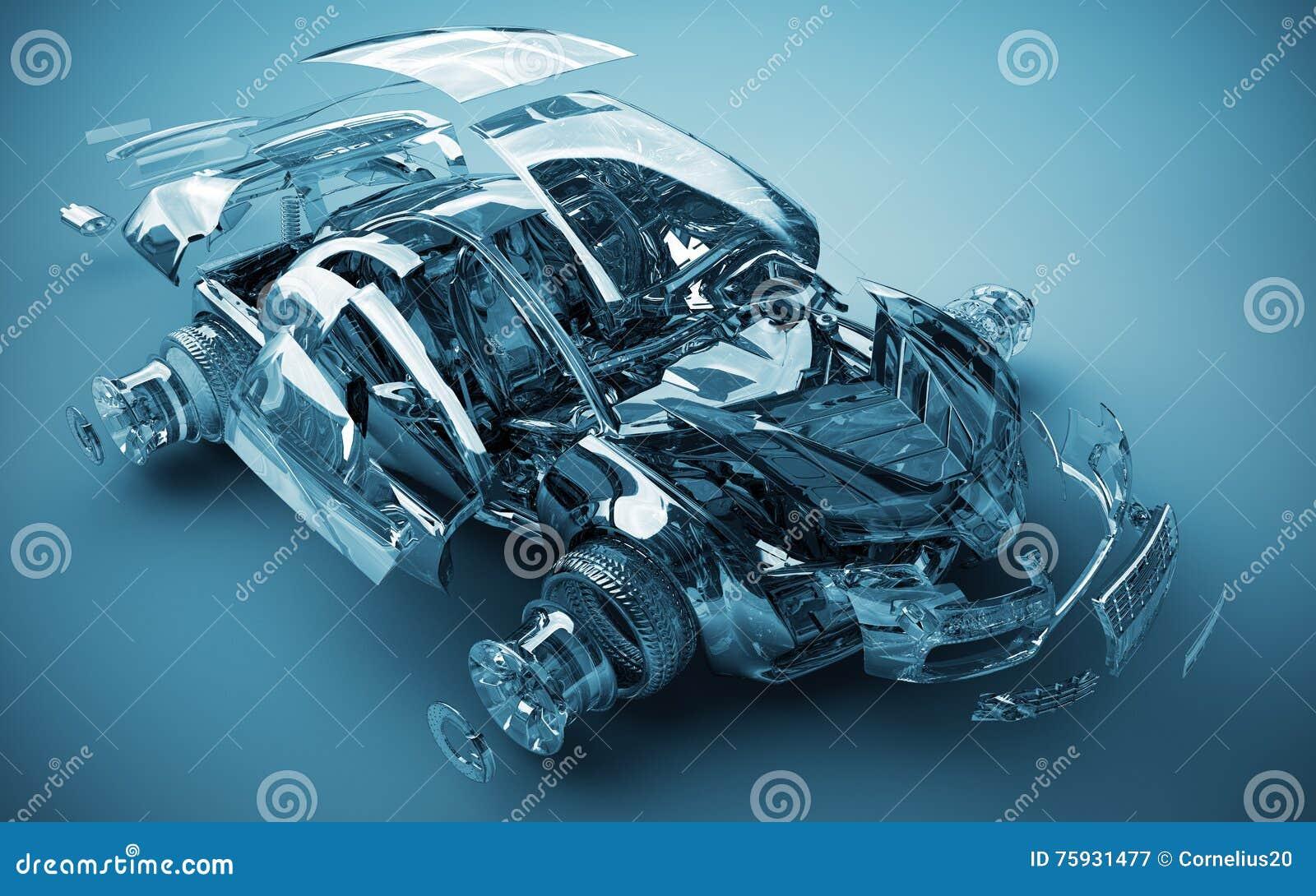 Взорванный прозрачный автомобиль