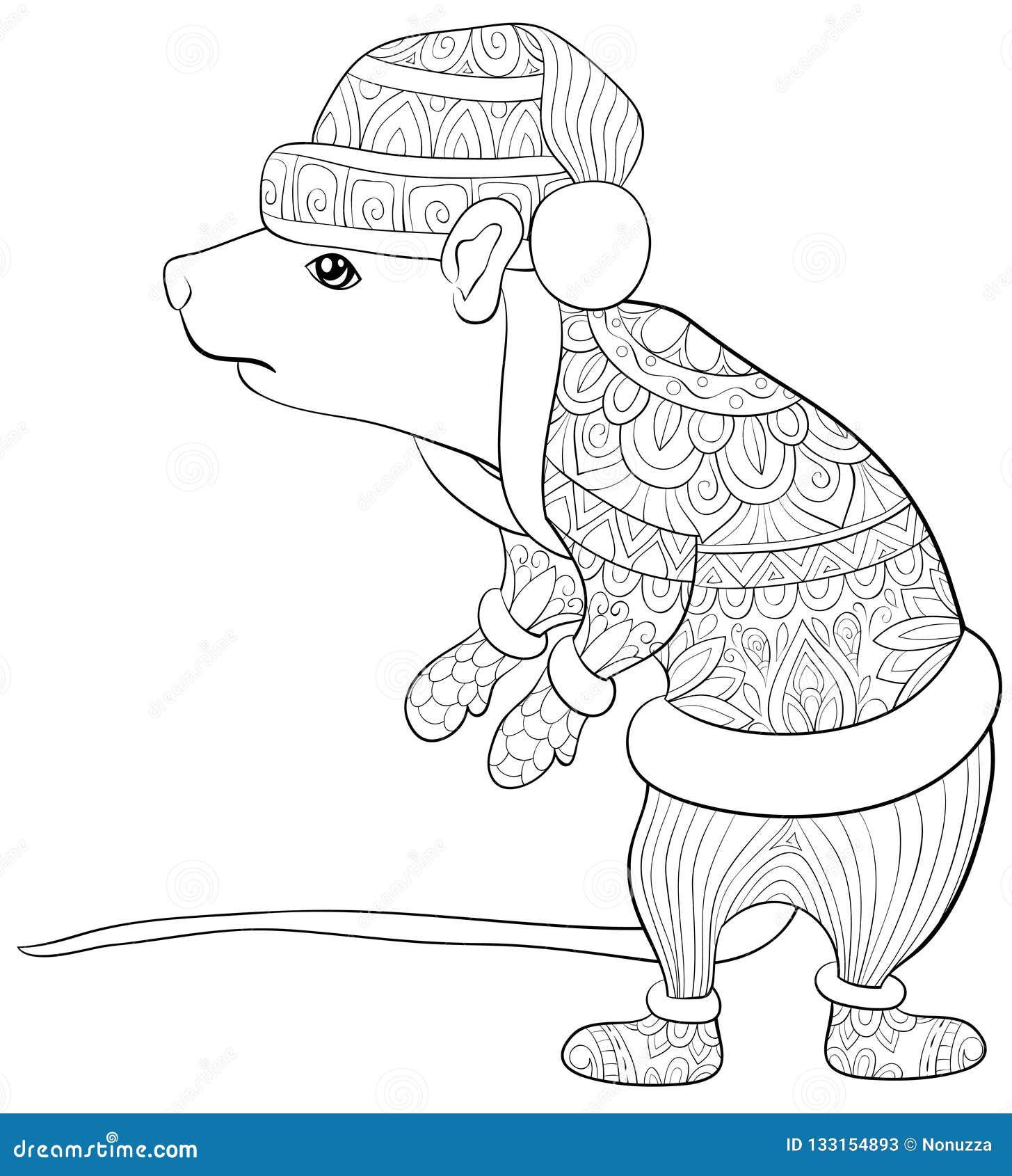 взрослая книжка раскраска страница милая крыса с