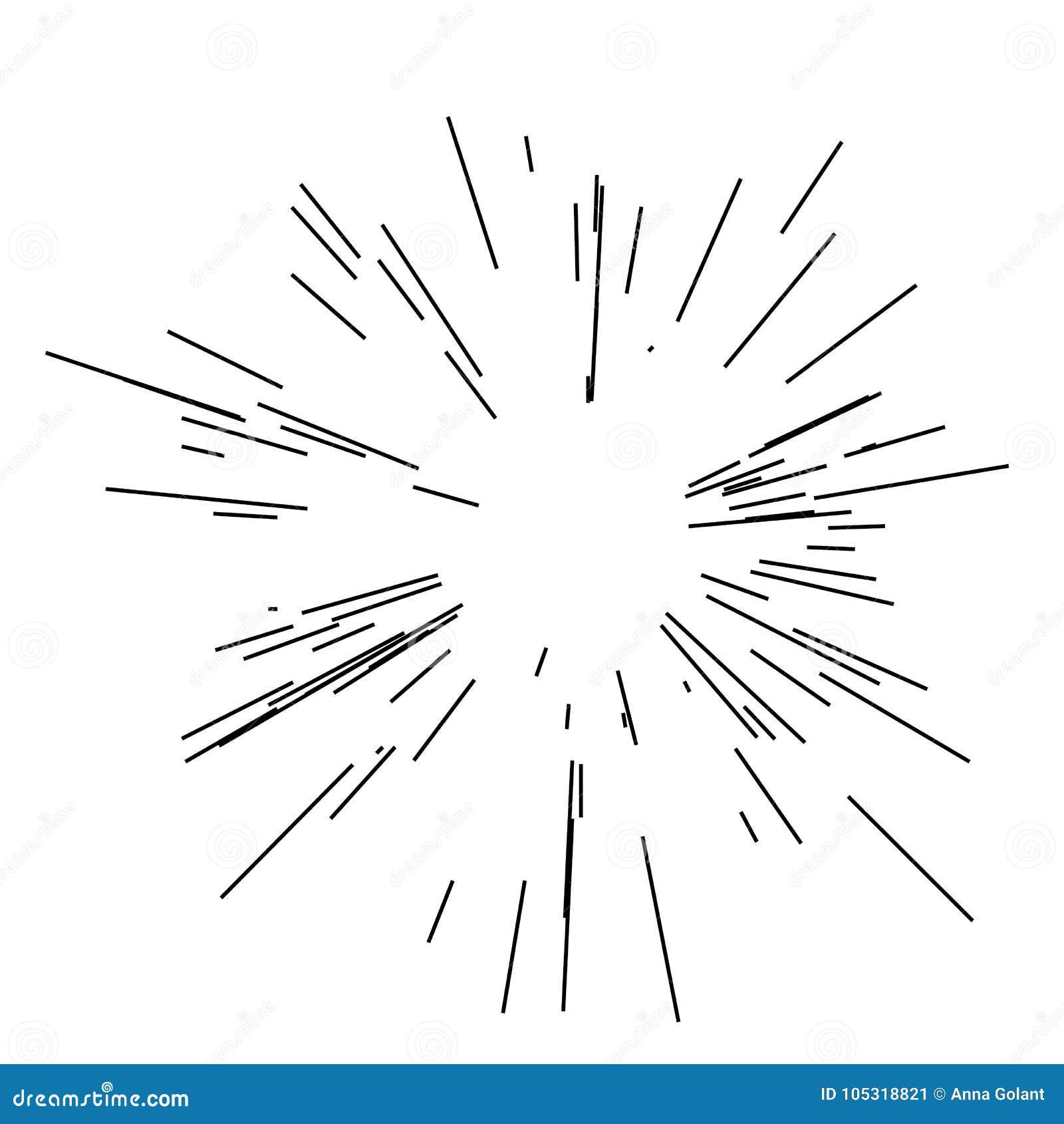 Взрыв Солнця, солнечность взрыва звезды Излучающ от центра тонких лучей, линии Динамический стиль Абстрактный взрыв, движение ско