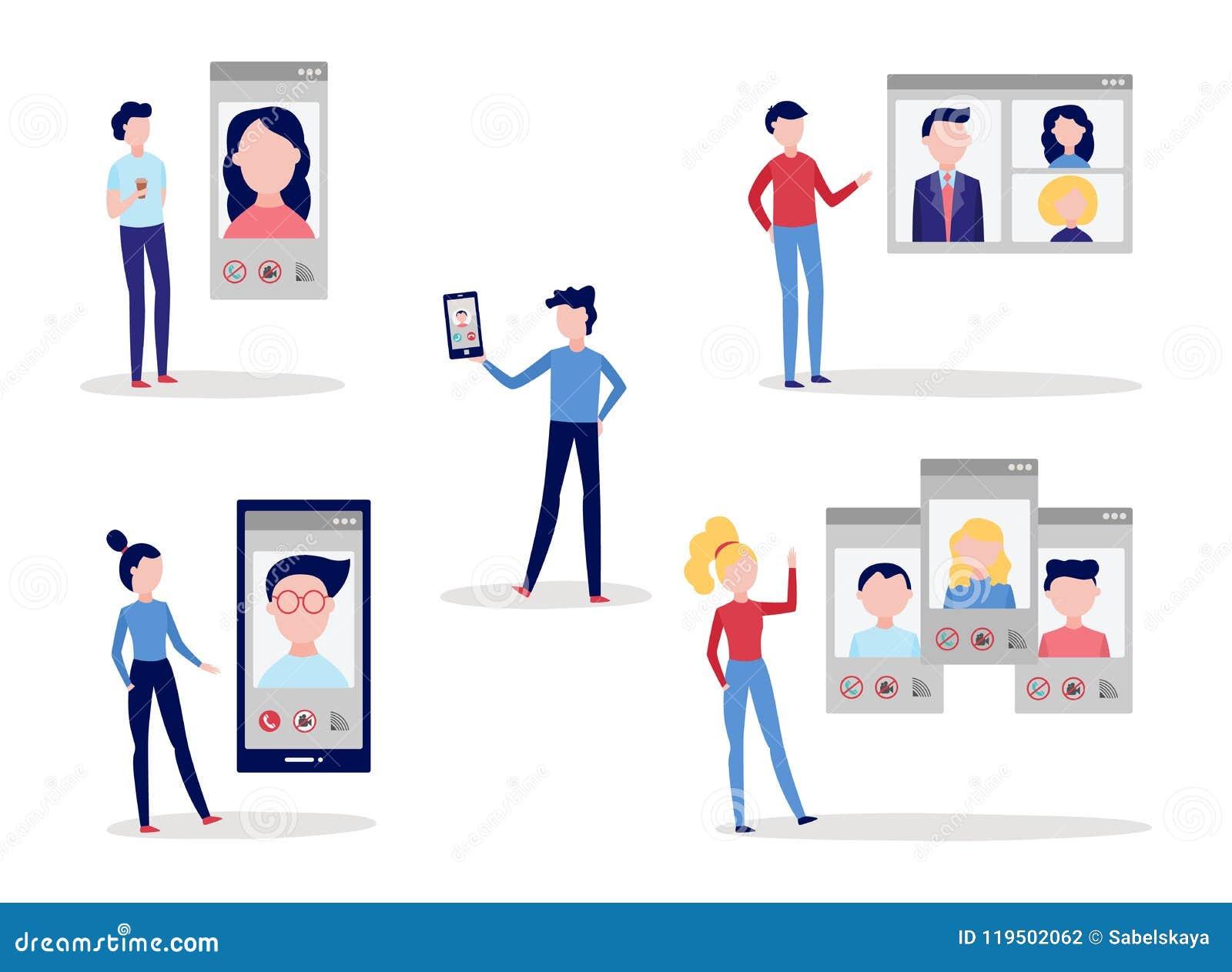Видео- комплект конференции болтовни звонка при люди и женщины используя smartphone и компьютер для того чтобы поговорить с други