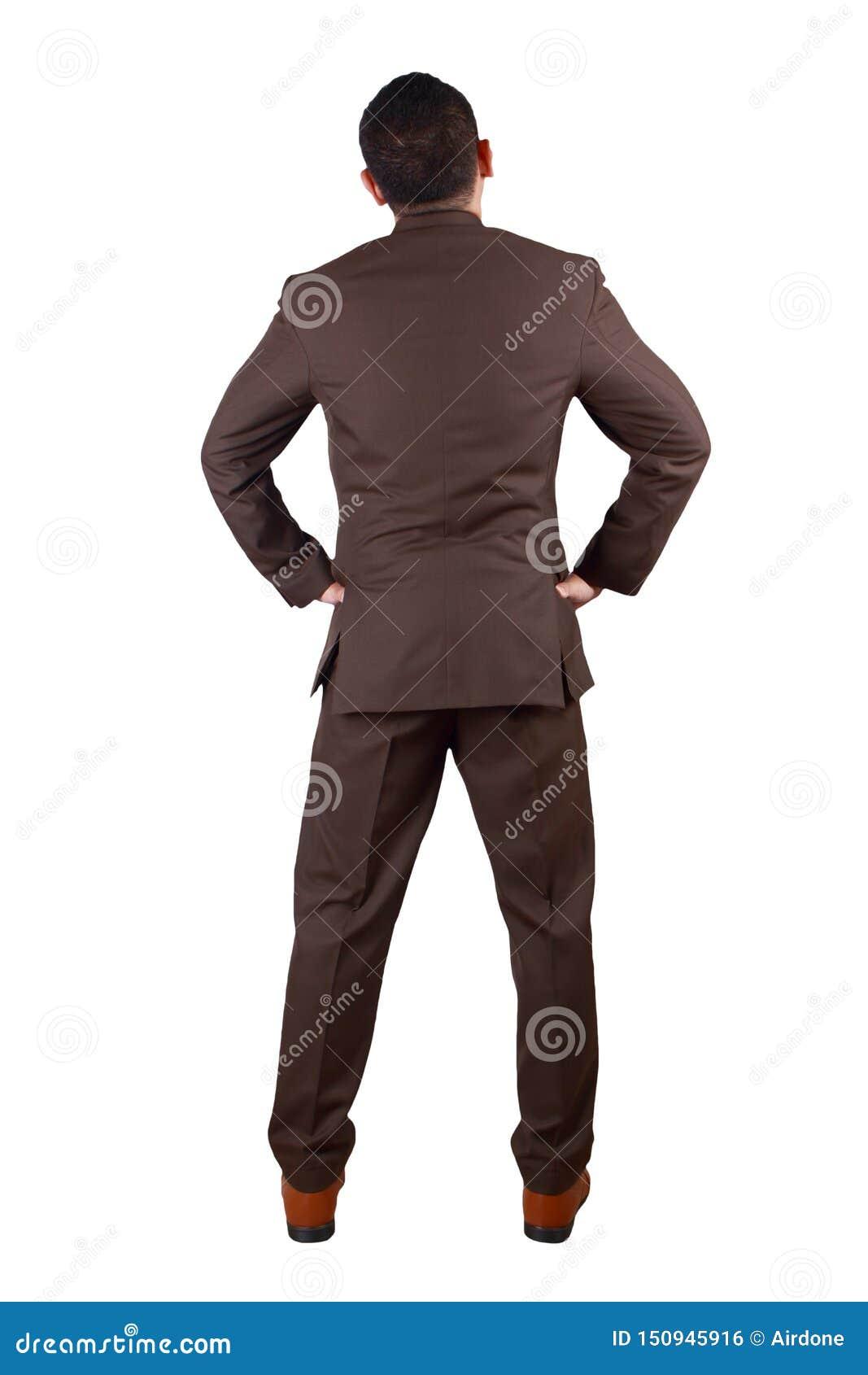 Вид сзади бизнесмена Полный портрет тела изолированный на белизне