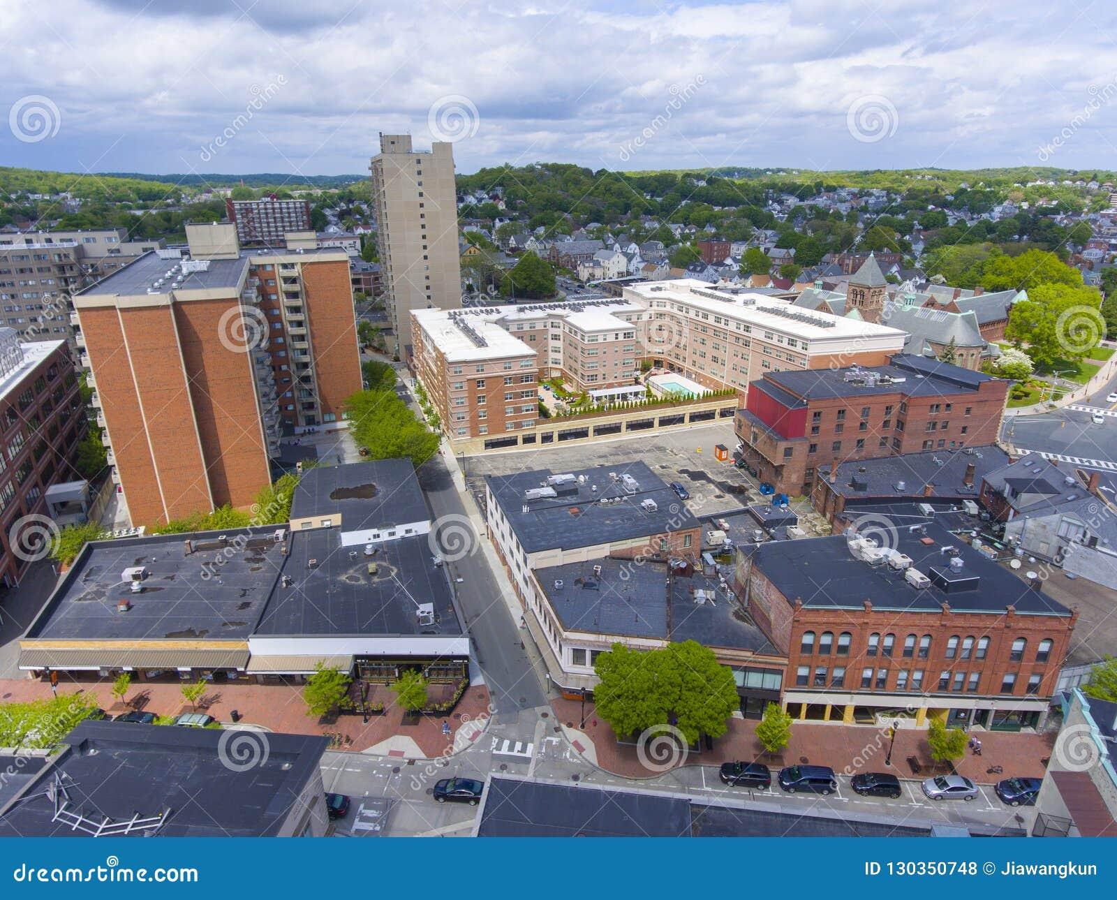Вид с воздуха города Malden, Массачусетс, США