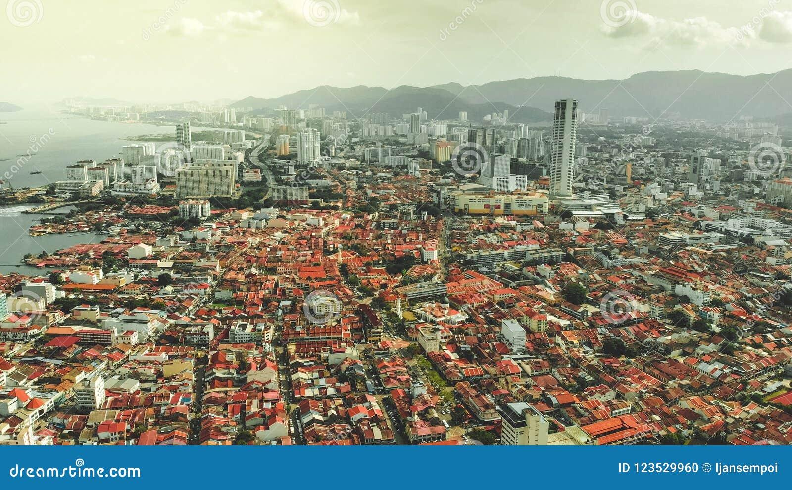 Вид с воздуха городка Джордж, Penang