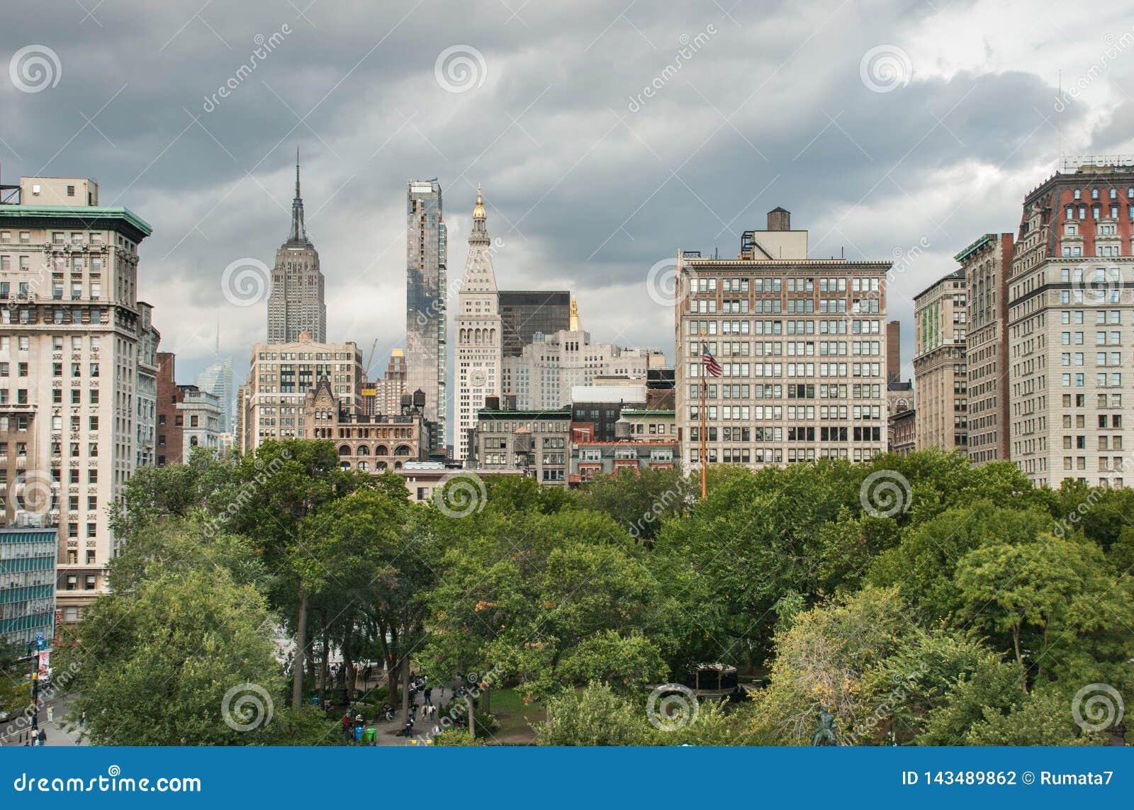 Вид с воздуха квадрата соединения на Нью-Йорке США