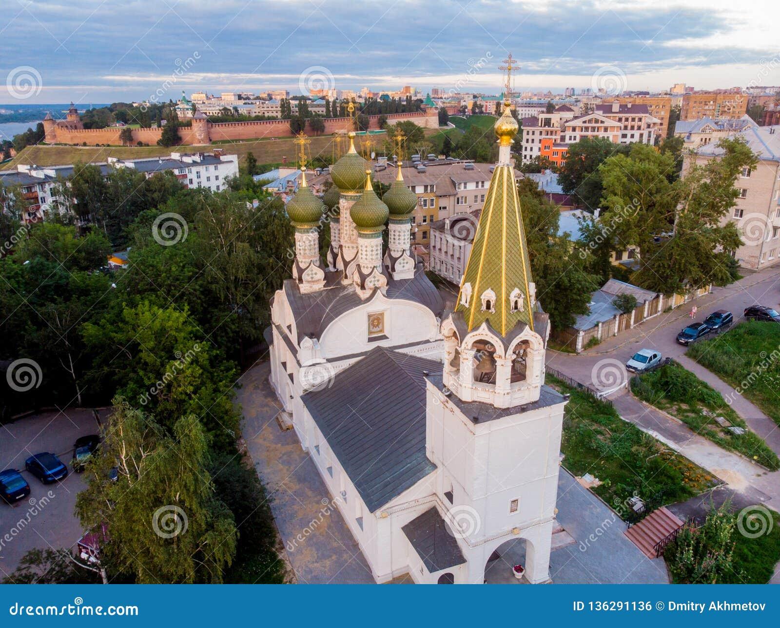 Вид с воздуха на предположении благословленной церков девой марии, Nizhny Novgorod