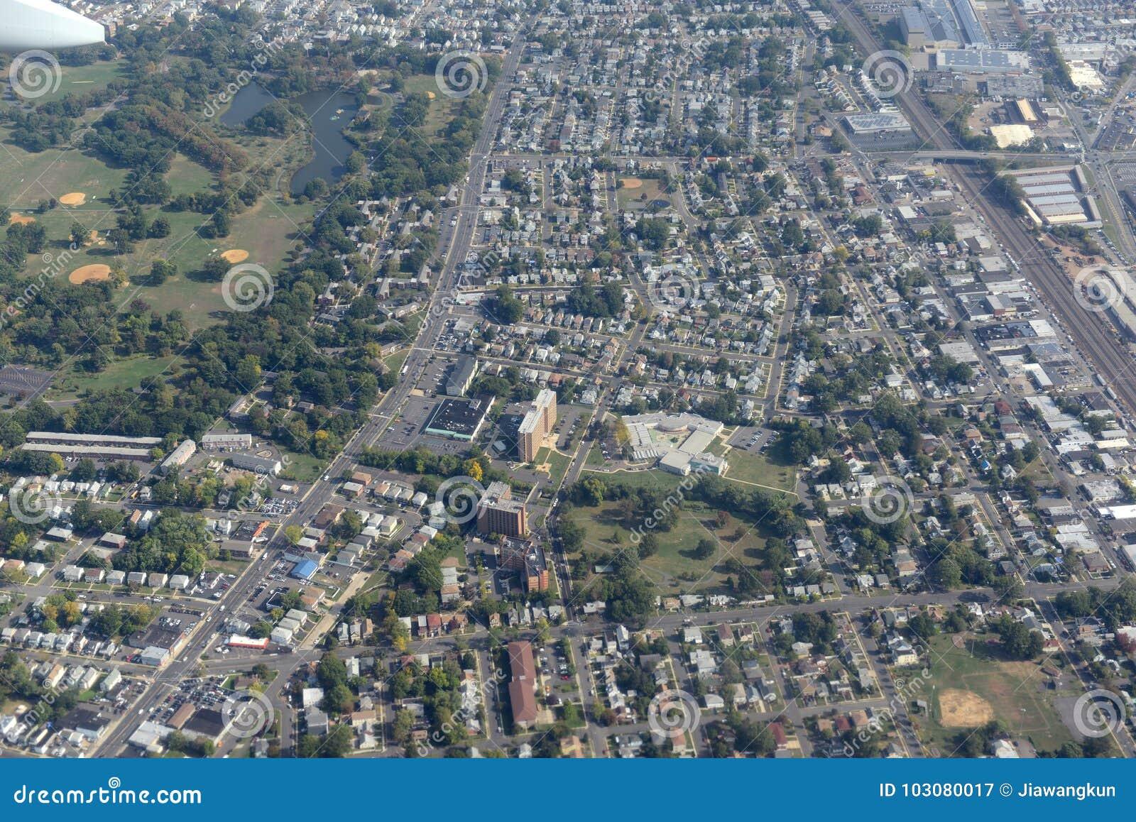 Вид с воздуха Ньюарка, Нью-Джерси, США