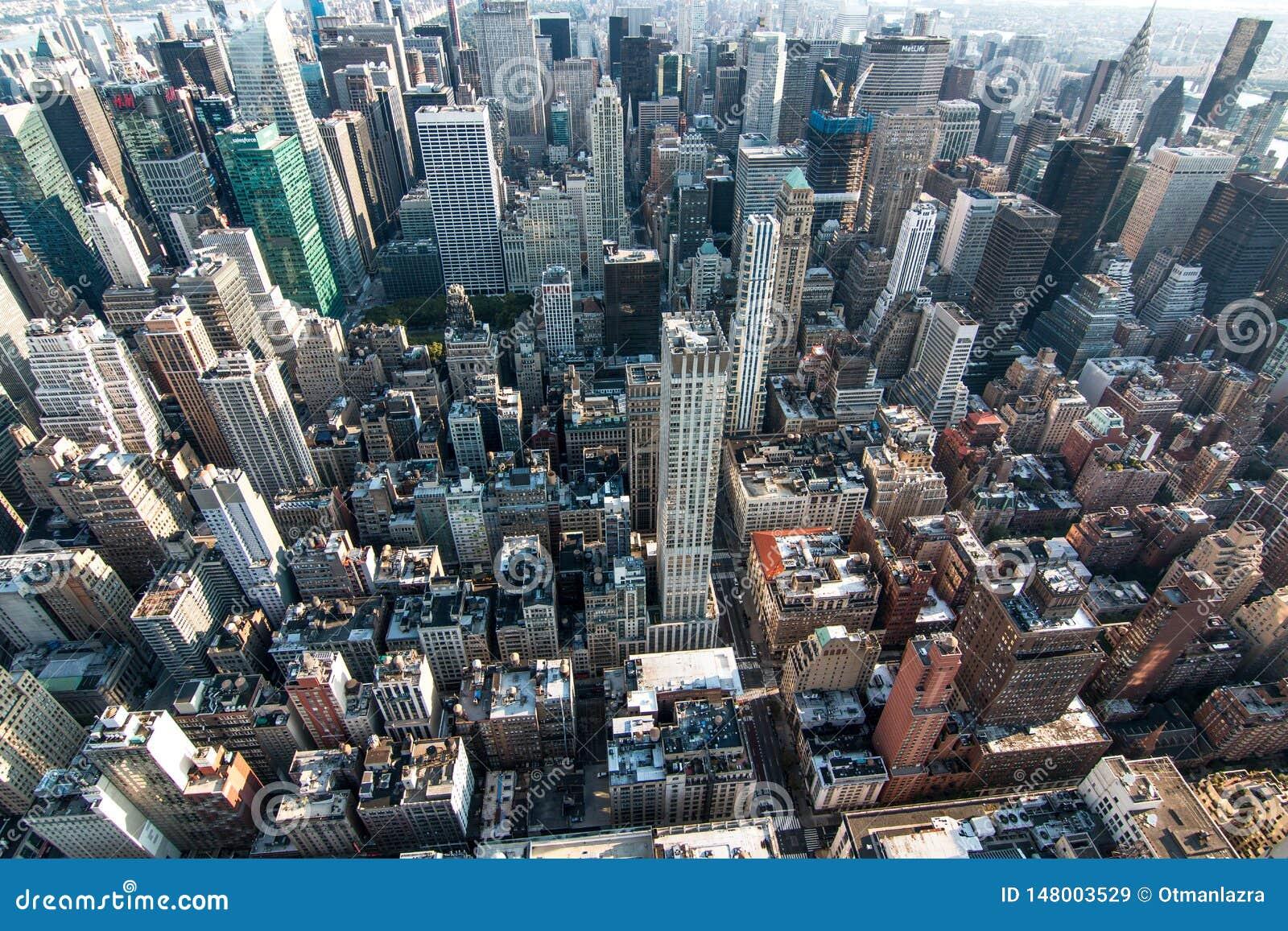 Вид с воздуха центра города Манхэттена