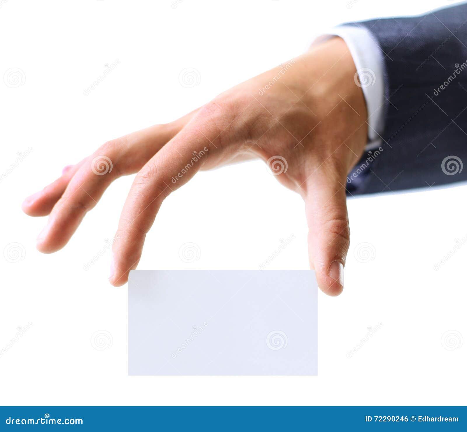 Download Визитная карточка показа руки человека Стоковое Фото - изображение насчитывающей горизонтально, темно: 72290246