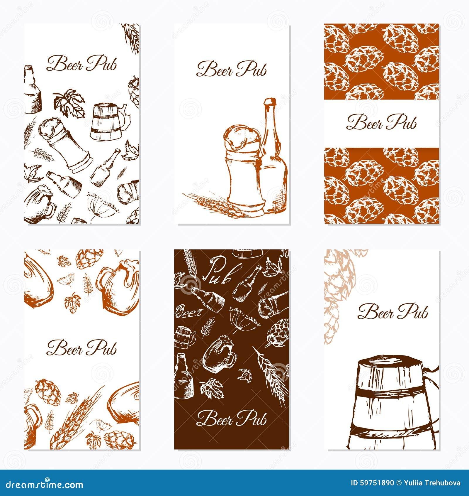 визитные карточки установили 6 Компания пива Тема ресторана также вектор иллюстрации притяжки corel