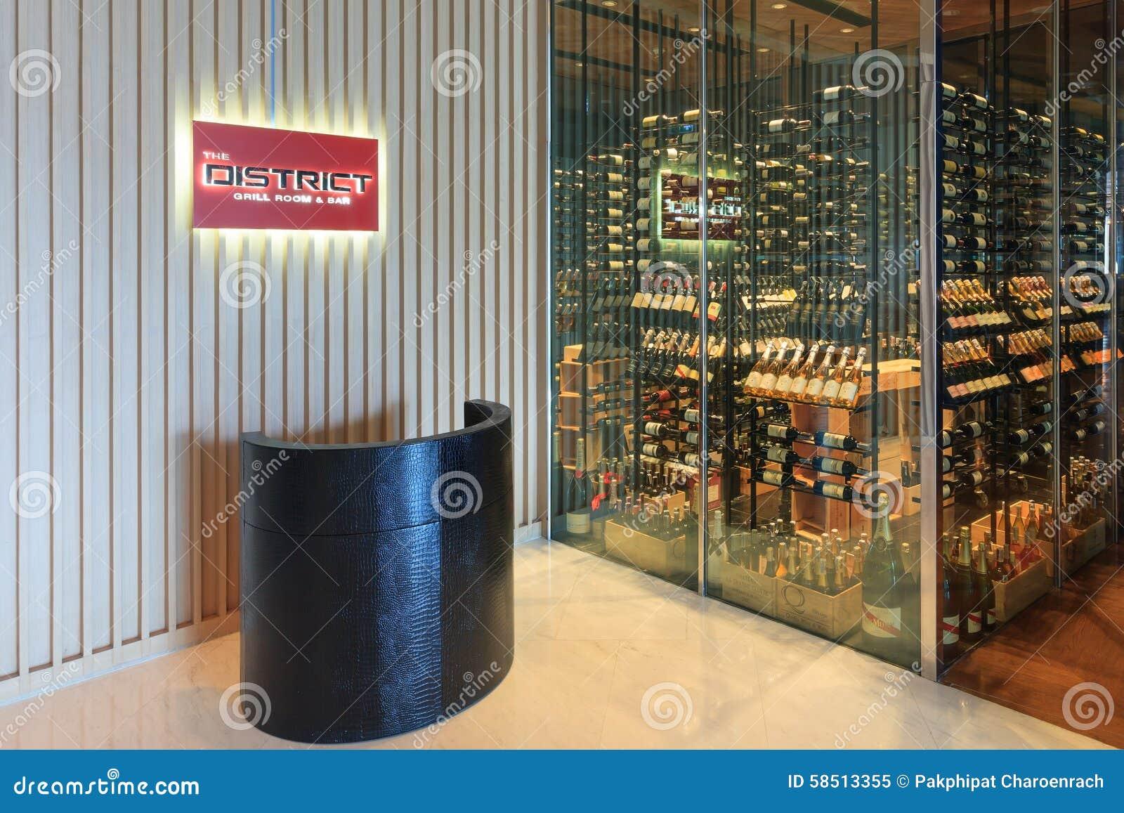 Винный магазин и ресторан района на Бангкоке Marriott гостиница