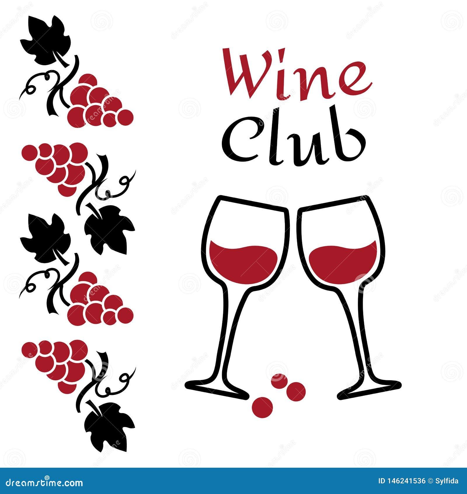 Виноградины и бокалы Дизайн логотипа вина Красный и черный бренд для клуба или компании вина r