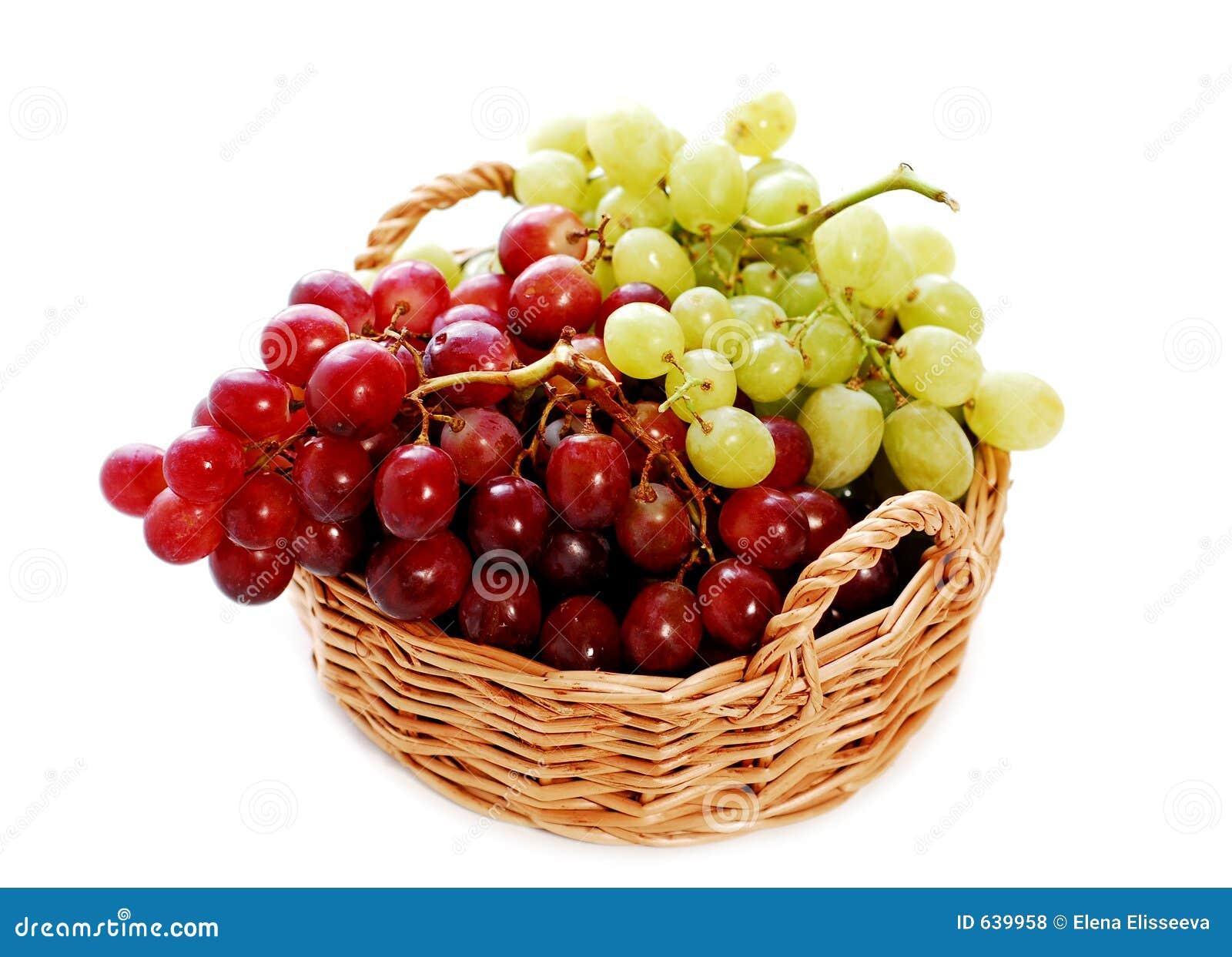 Download виноградины корзины стоковое фото. изображение насчитывающей изолировано - 639958