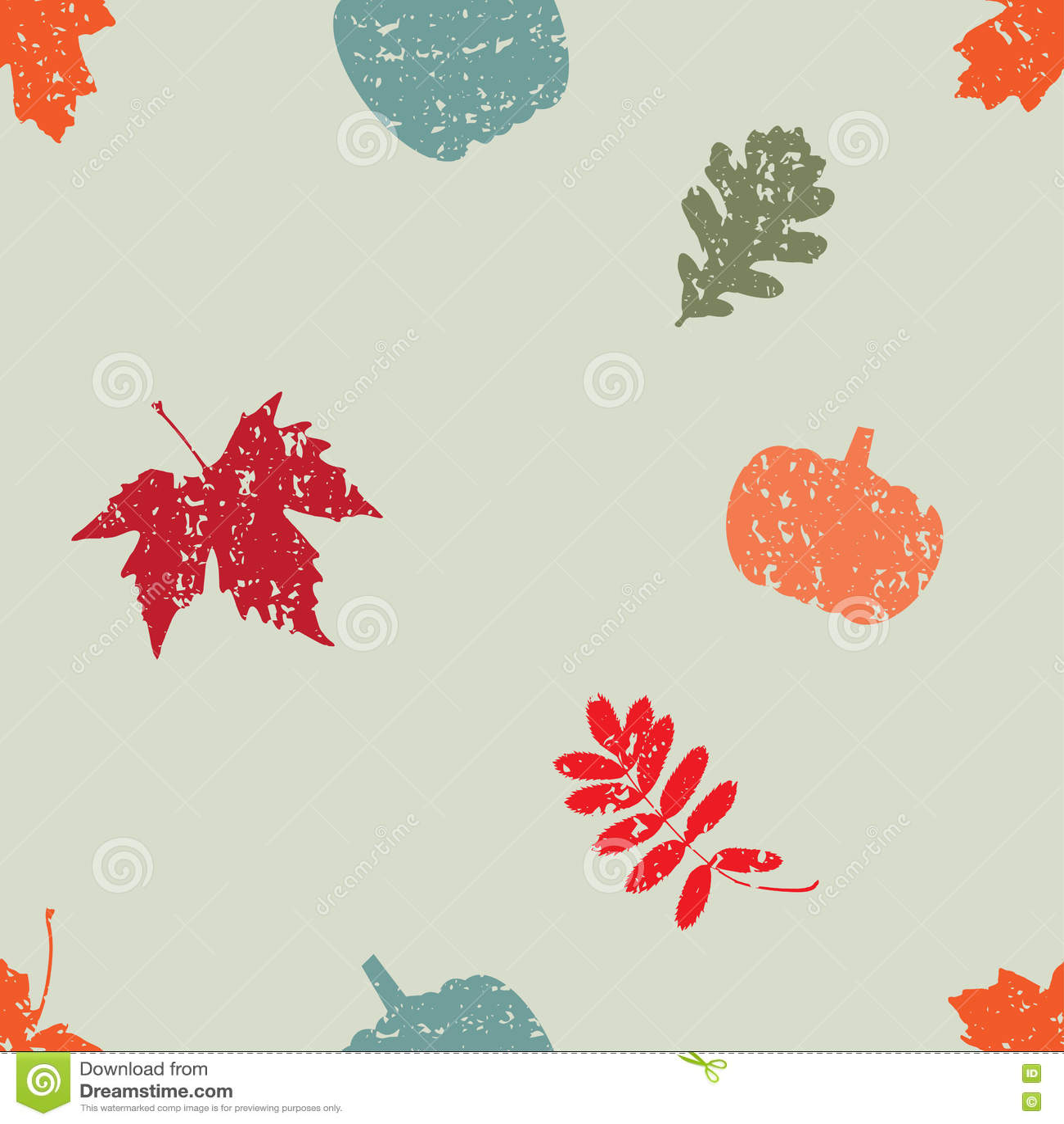 Винтажная безшовная картина вектора с листьями и тыквой осени
