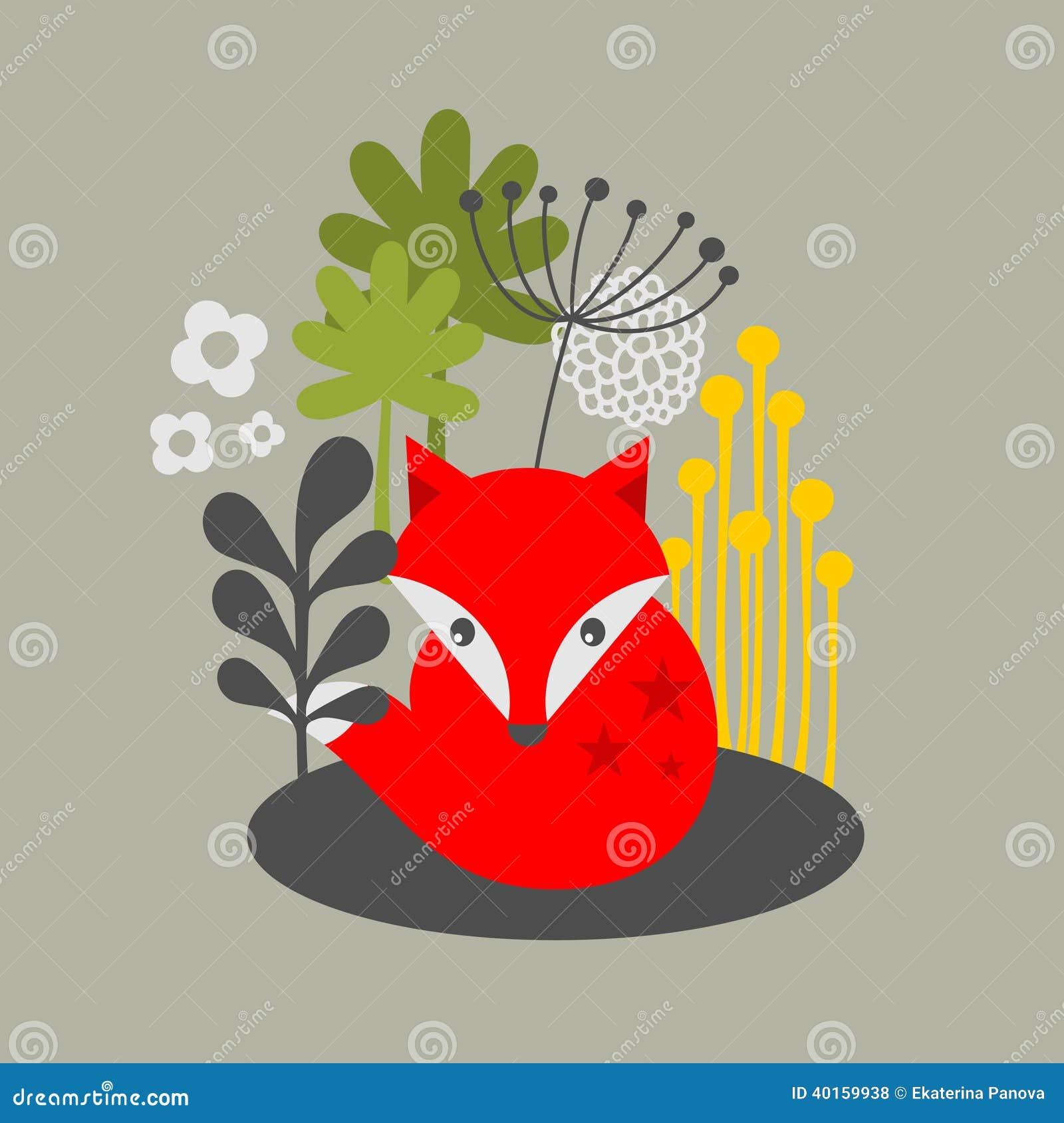 Винтажная лиса и печать цветков.